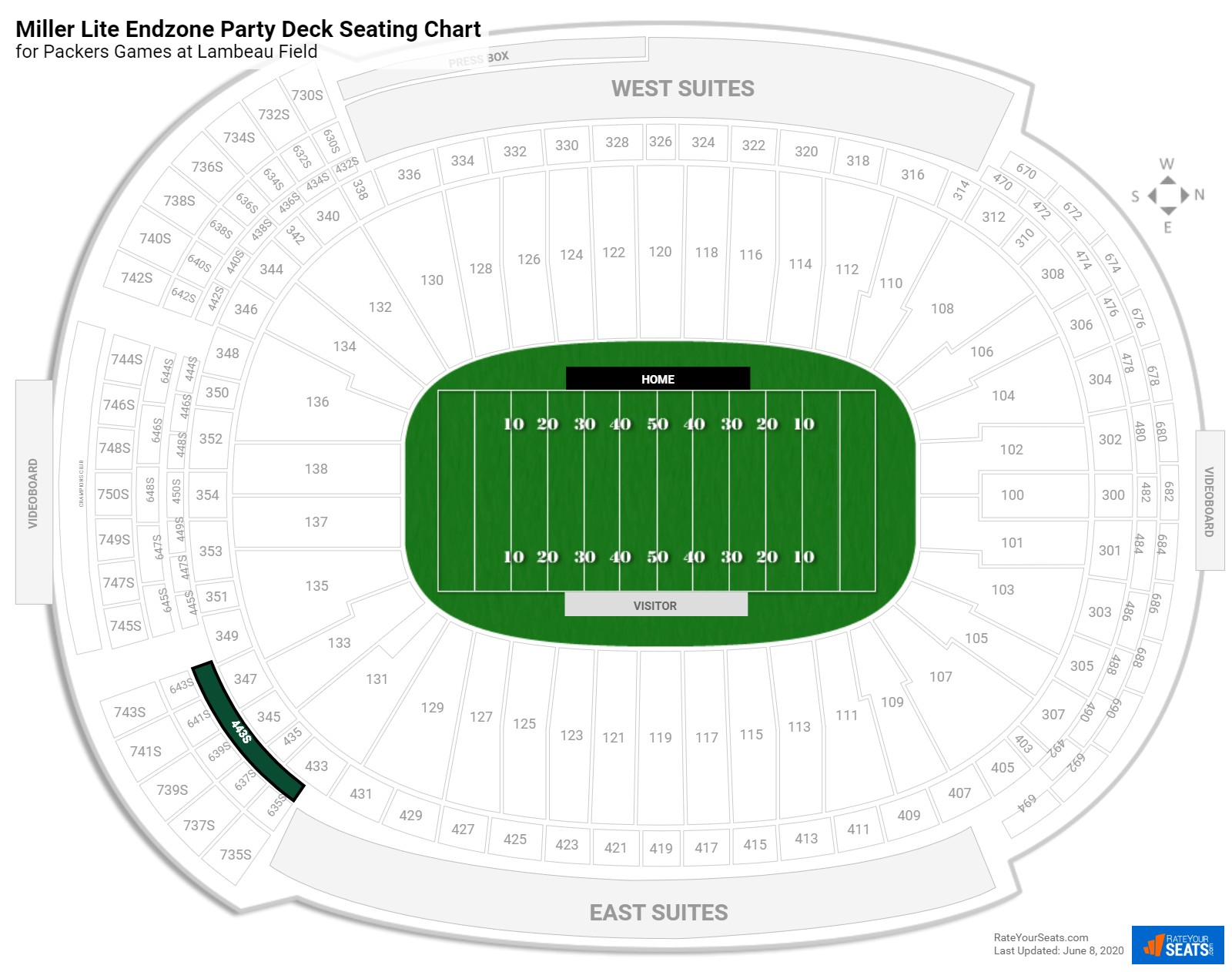 Lambeau Field Miller Lite Endzone Party Deck seating chart