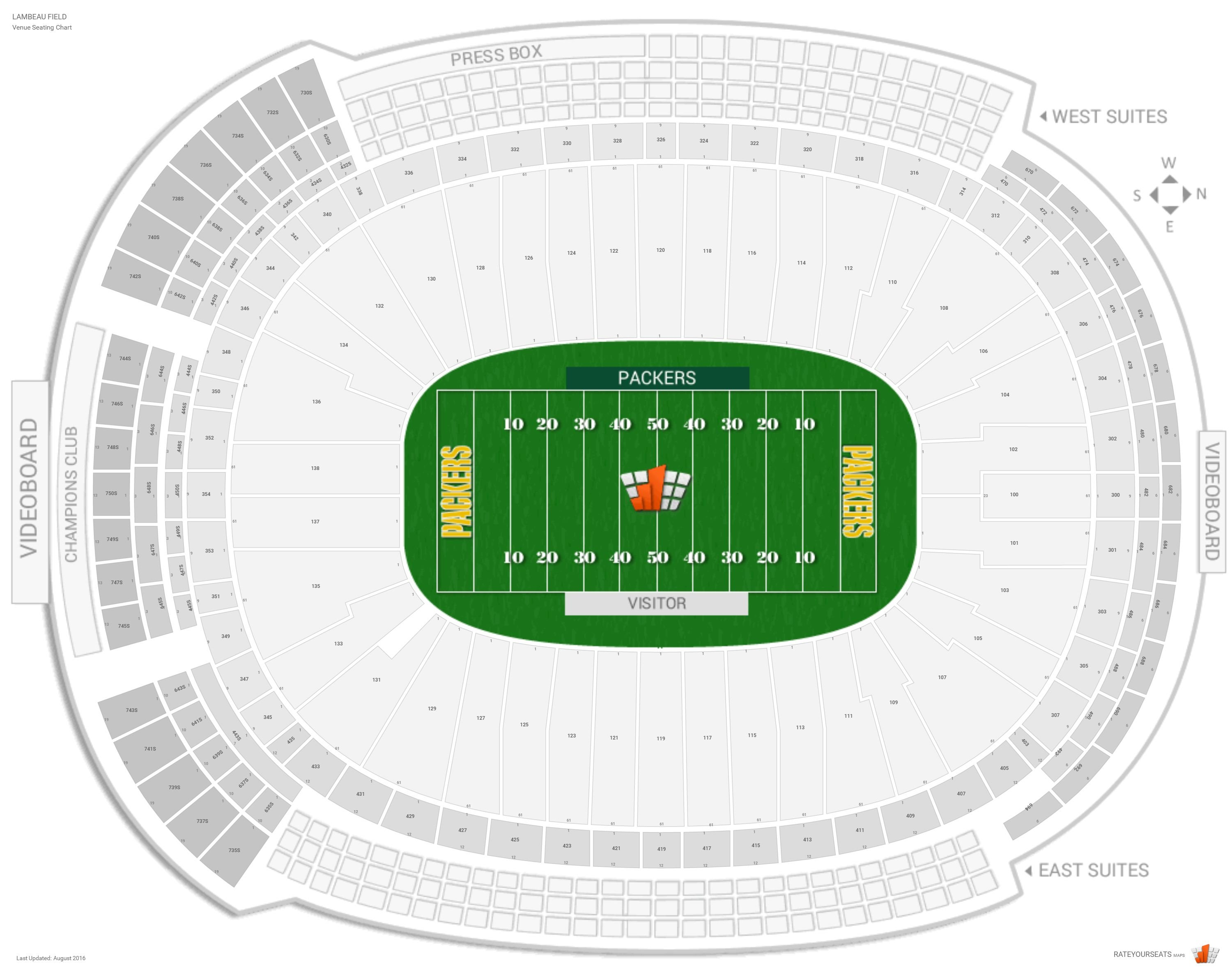 Lambeau Field Seating Map Green Bay Packers Seating Guide   Lambeau Field   RateYourSeats.com
