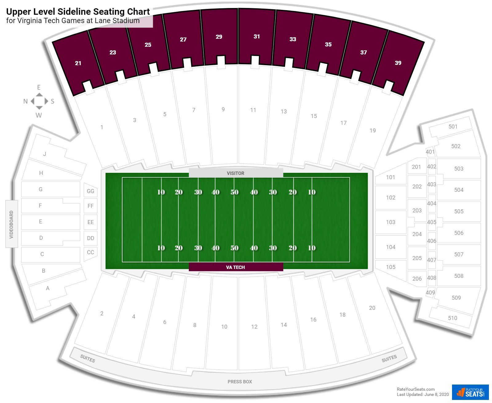 Lane Stadium Upper Level Sideline seating chart