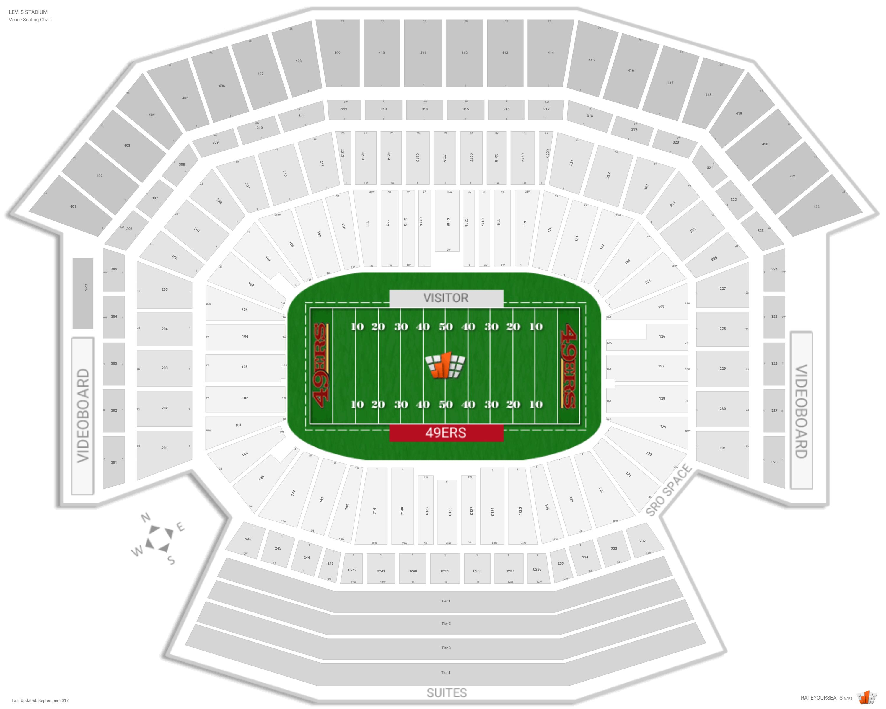 San Francisco 49ers Seating Guide Levis Stadium Rateyourseatscom