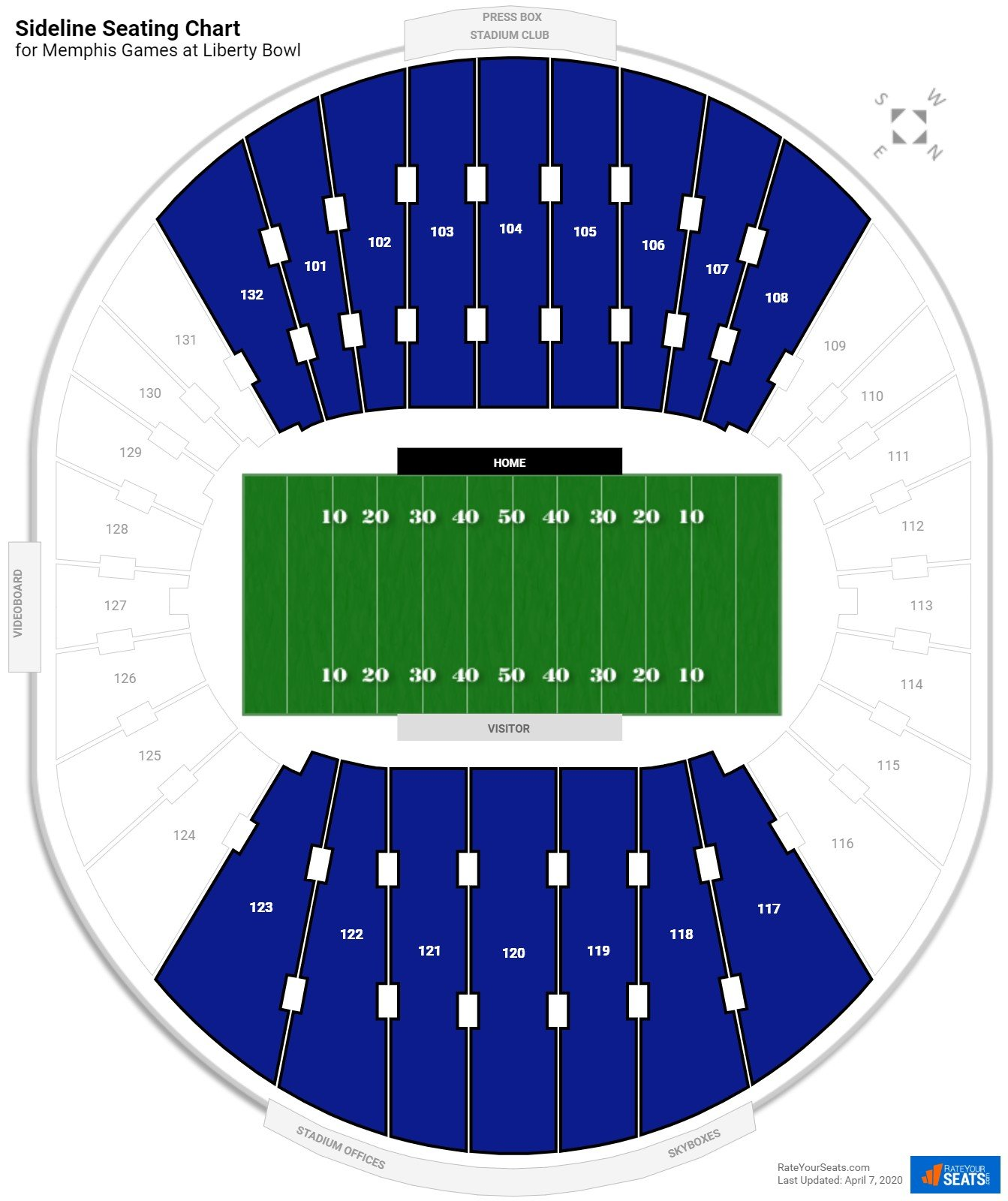Liberty Bowl Sideline seating chart