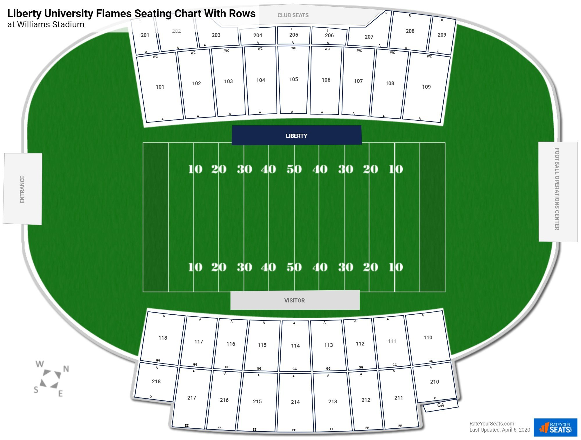 Williams Stadium seating chart with rows