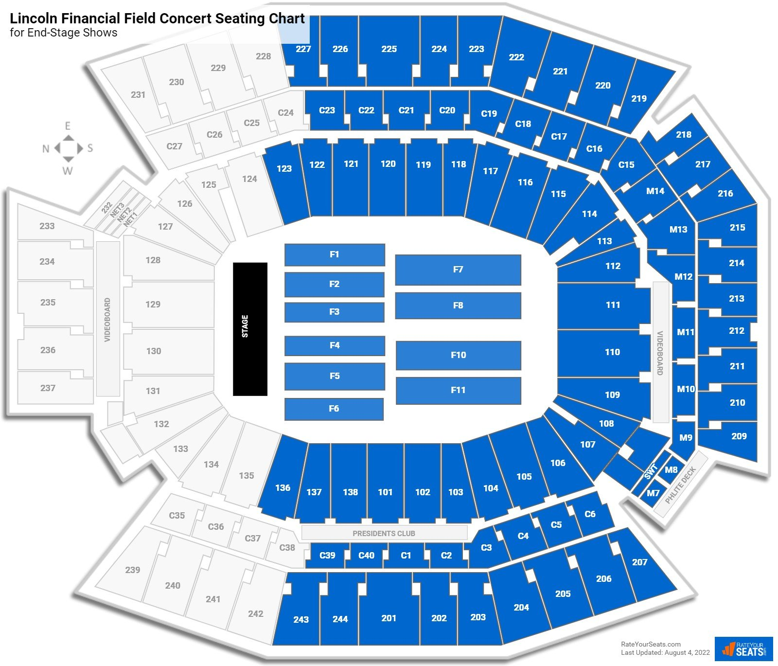 Lincoln Financial Field Seating Chart for Concerts