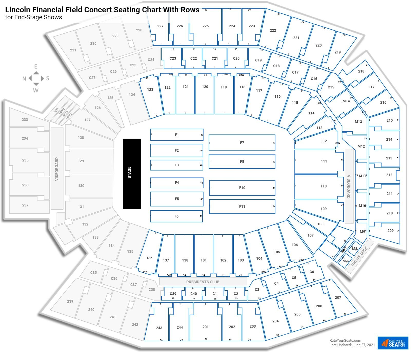 Lincoln Financial Field seating chart with rows concert