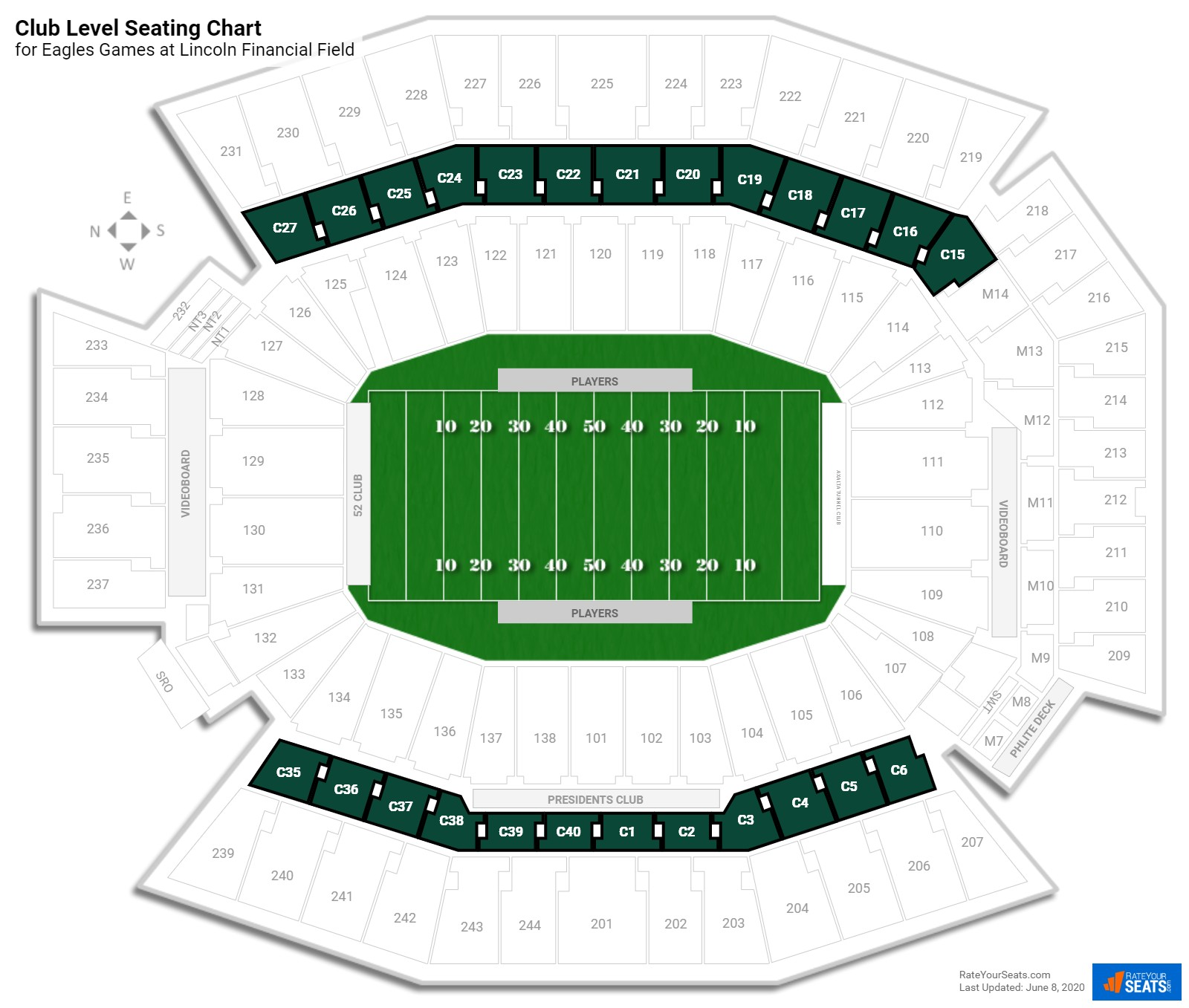 Lincoln Financial Field Club Level seating chart