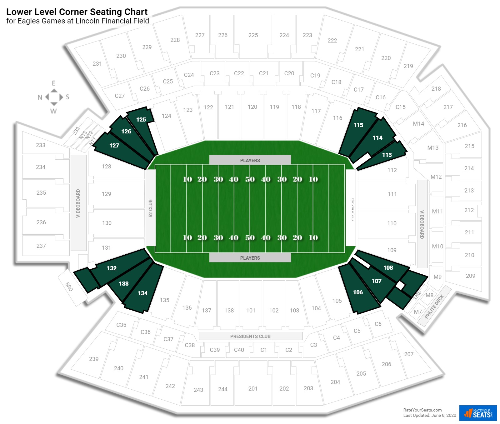 Lincoln Financial Field Lower Level Corner seating chart