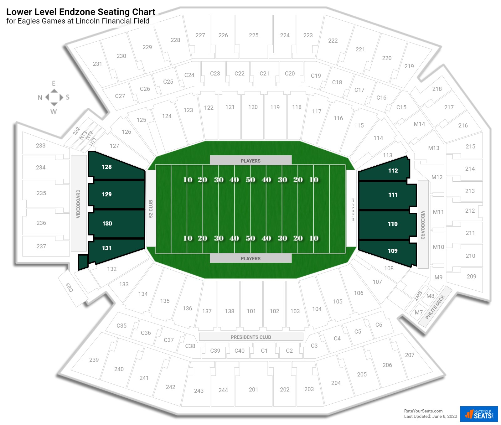 Lincoln Financial Field Lower Level Endzone seating chart