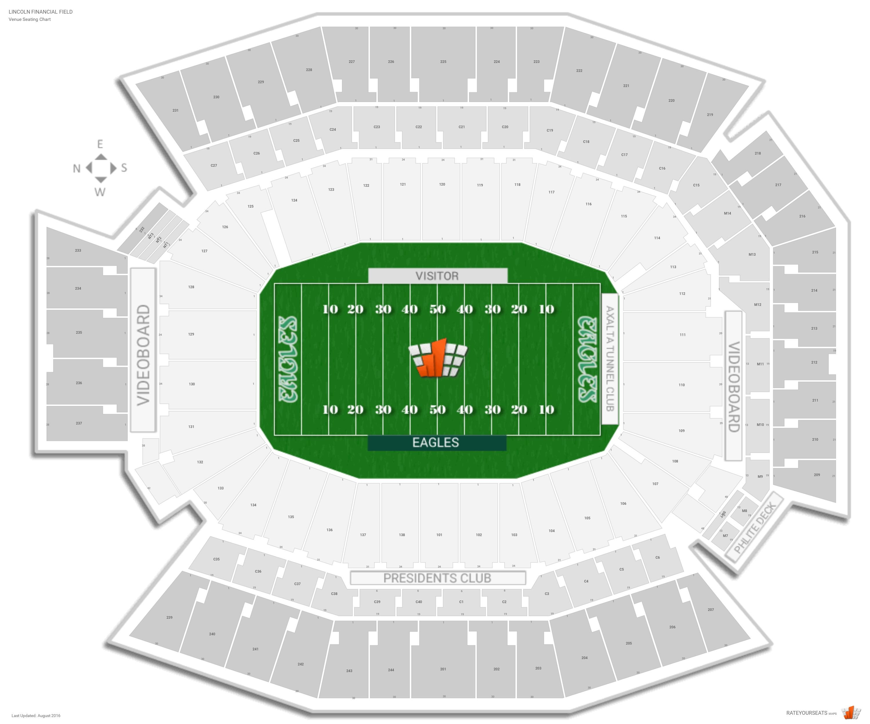Philadelphia eagles seating guide lincoln financial field