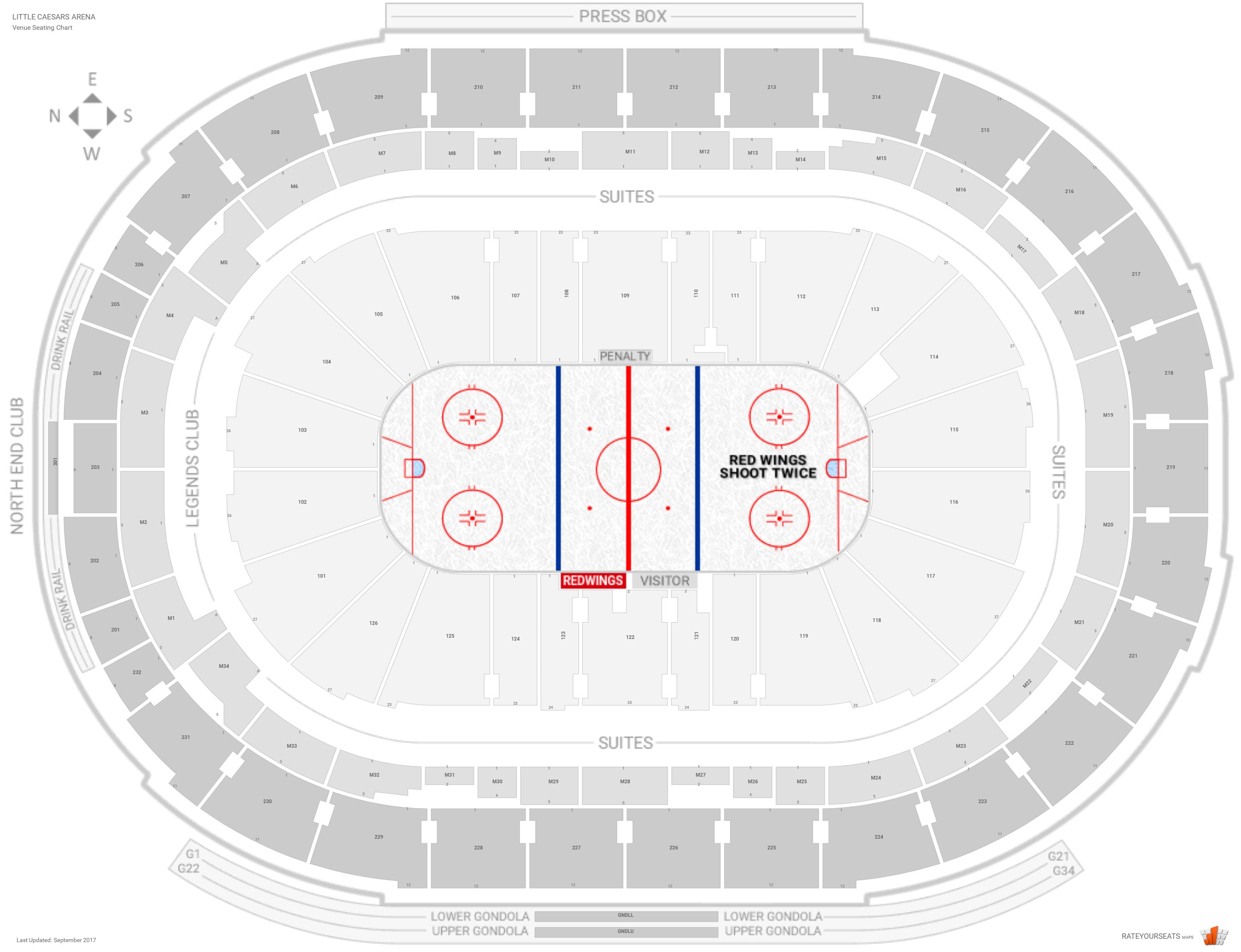 Little Caesars Arena Seating Chart With Row Numbers