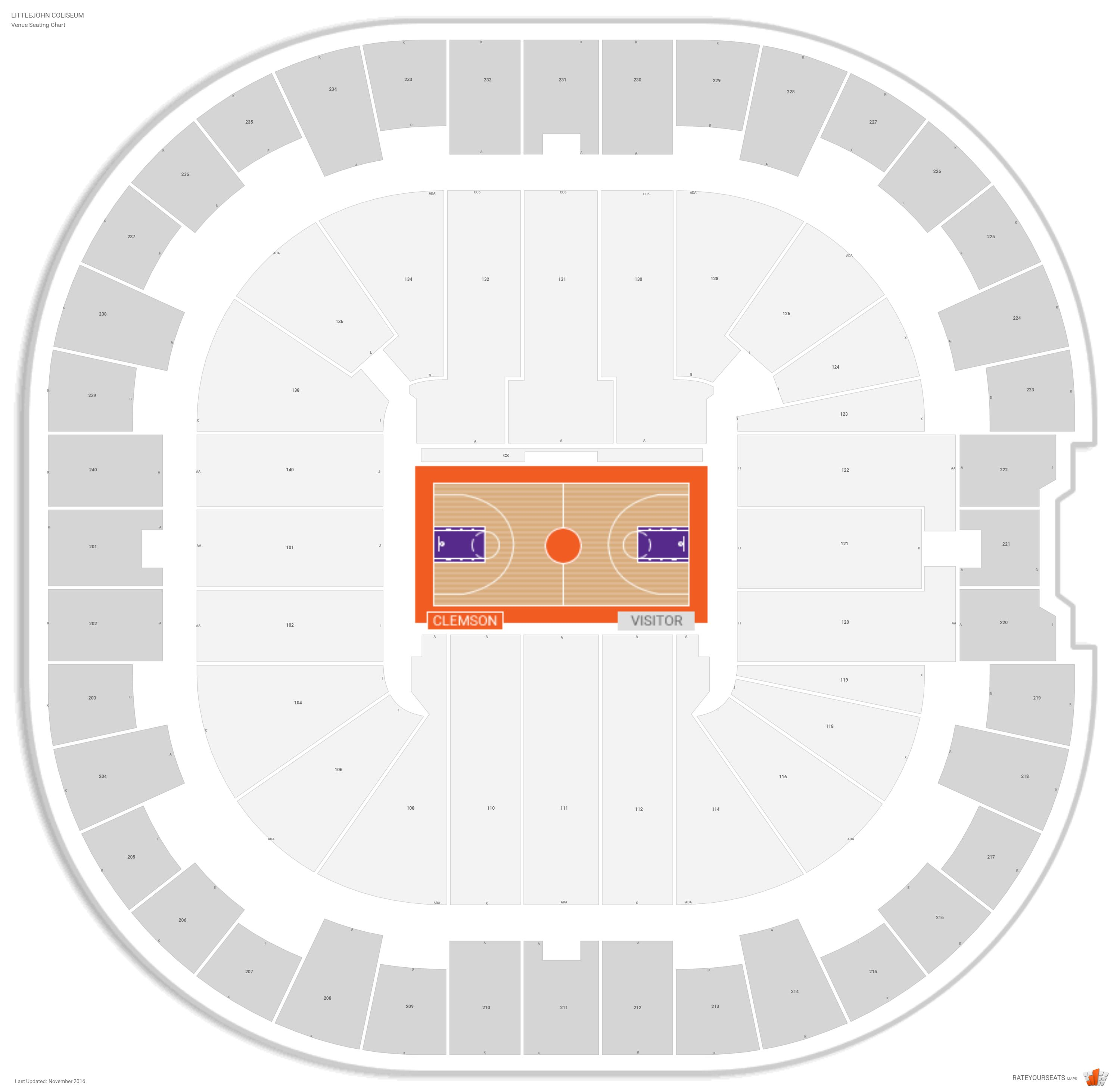Littlejohn coliseum clemson seating guide rateyourseats com