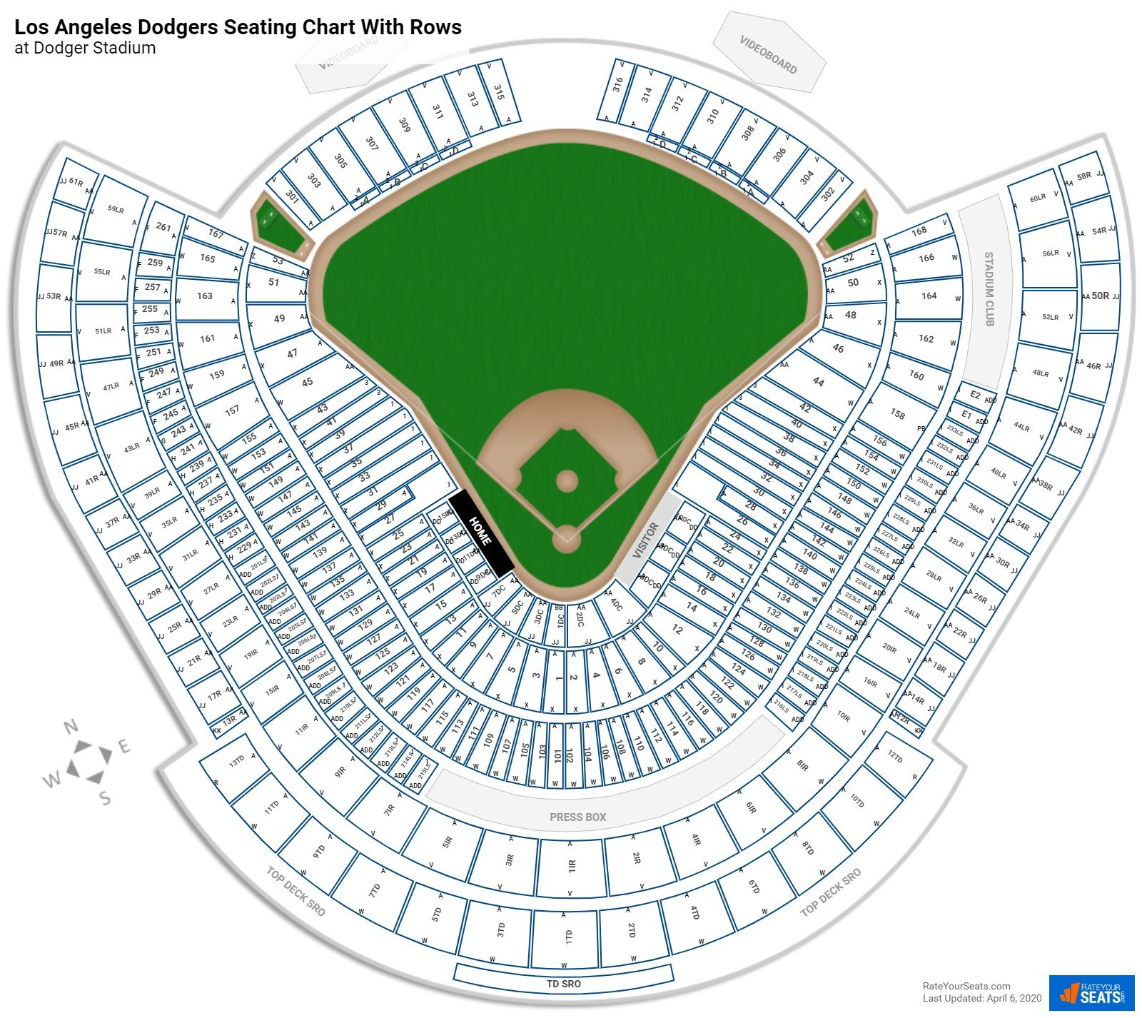 Dodger Stadium seating chart with rows