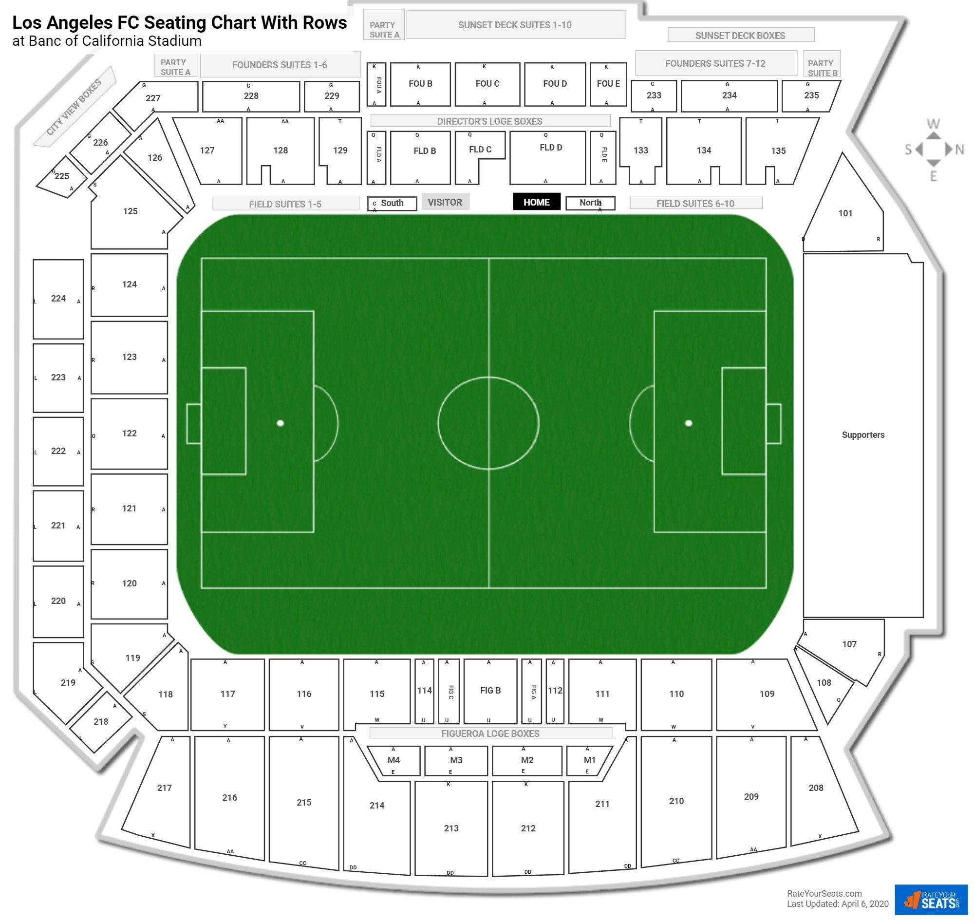 Banc of California Stadium seating chart with rows
