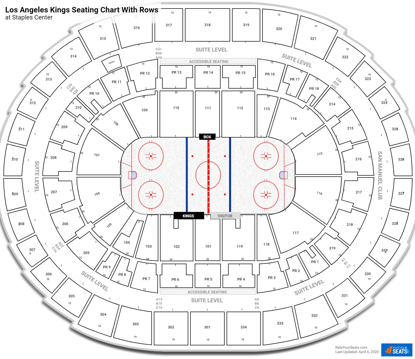 Staples Center seating chart with rows hockey