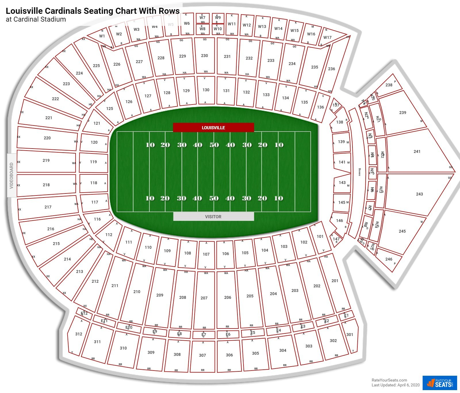 Cardinal Stadium seating chart with rows
