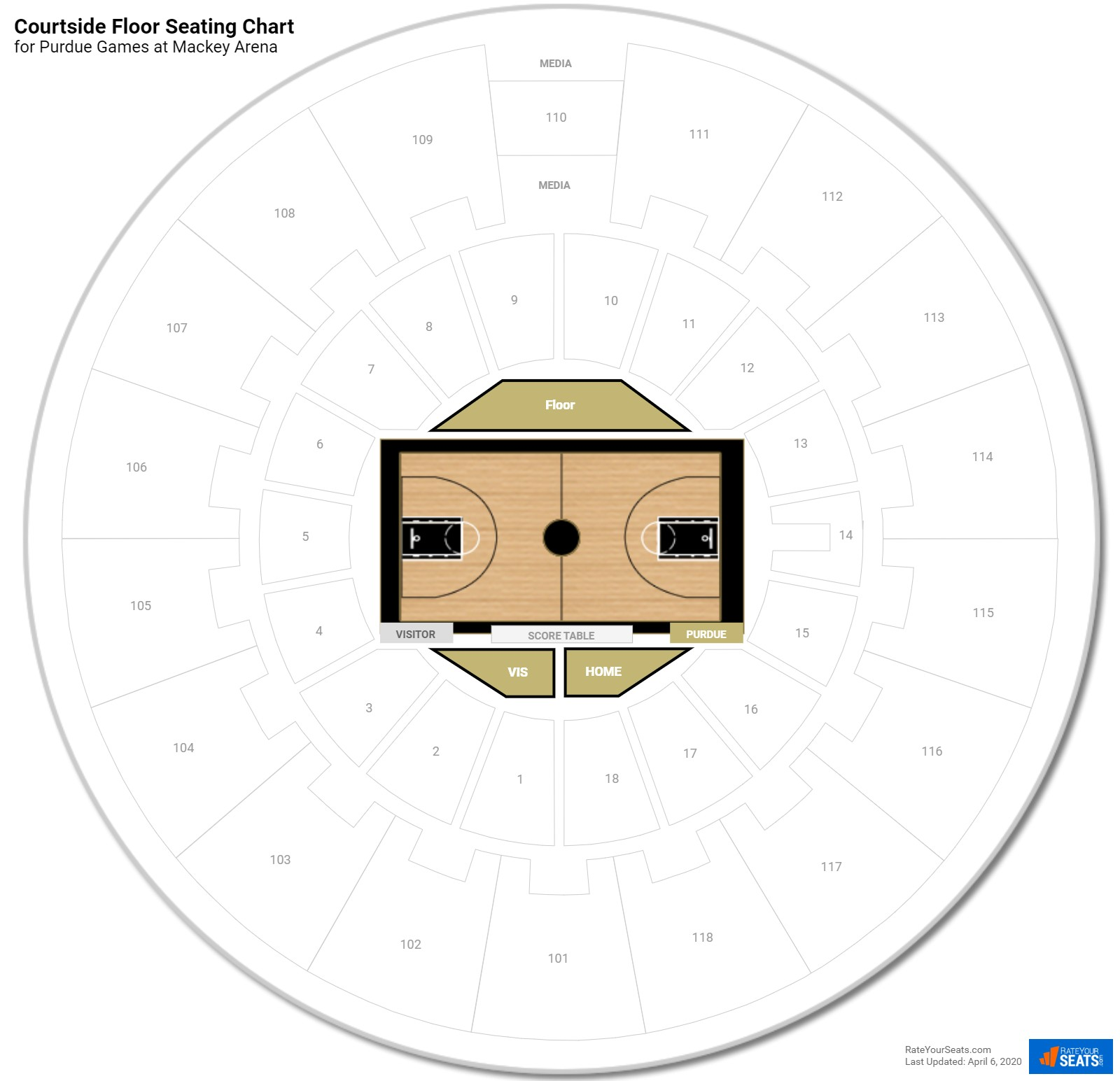 Courtside Floor Mackey Arena Basketball Seating