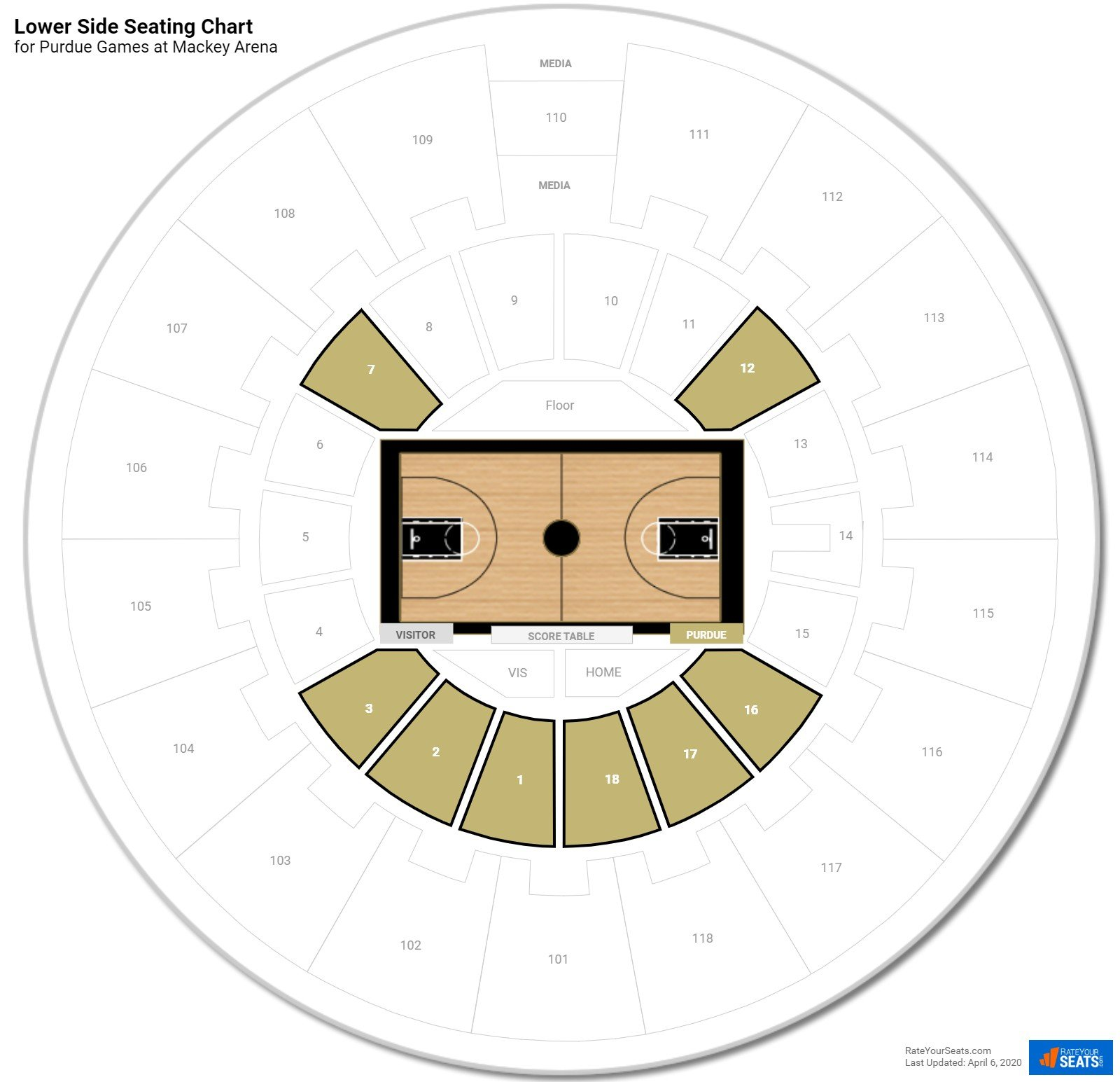 Mackey arena purdue seating guide rateyourseats com
