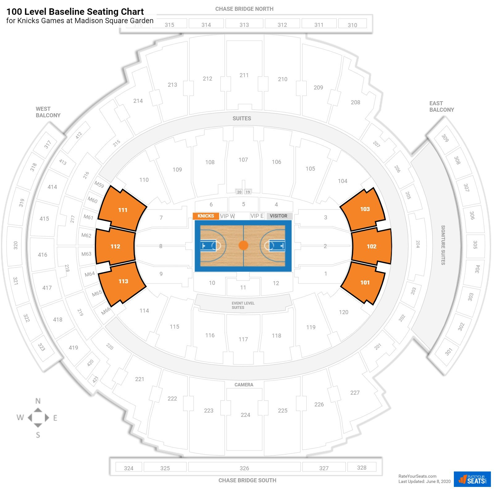 Madison Square Garden 100 Level Baseline seating chart