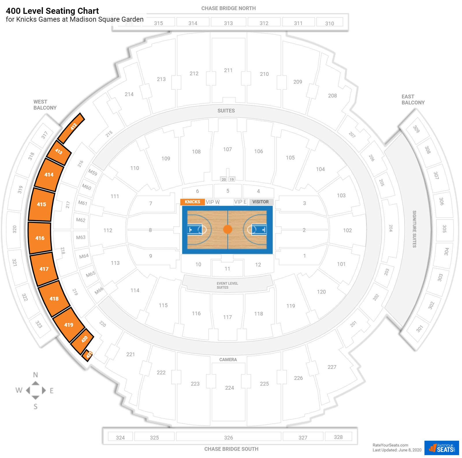 400 level madison square garden basketball seating for Madison square garden interactive seating chart