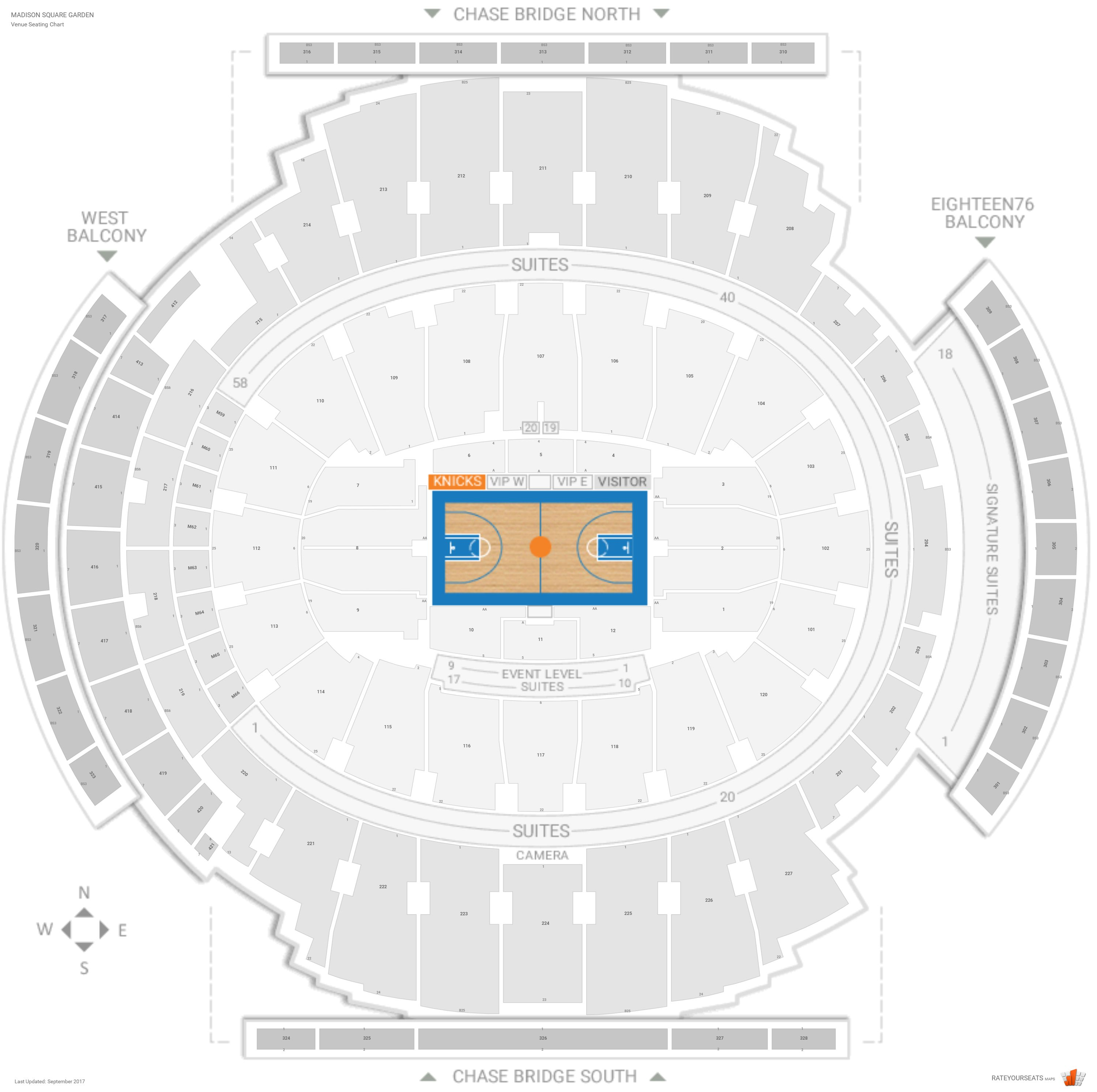 New York Knicks Seating Guide Madison Square Garden