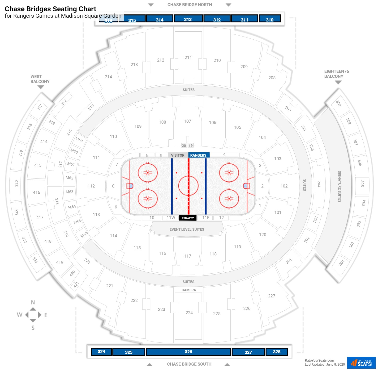 Chase Bridges Madison Square Garden Hockey Seating
