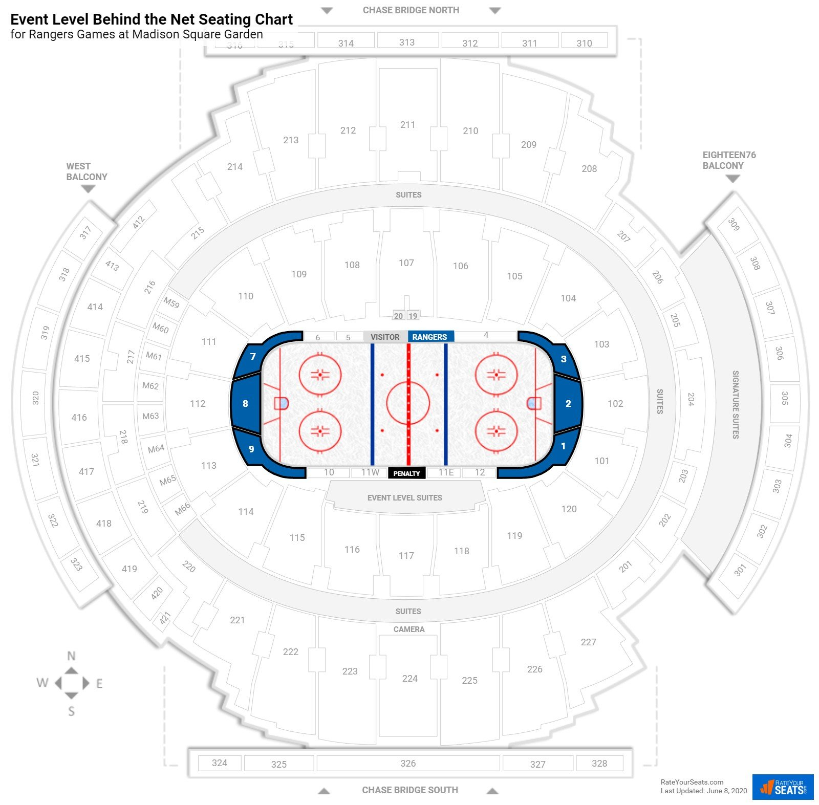 Madison Square Garden Event Level Behind the Net seating chart
