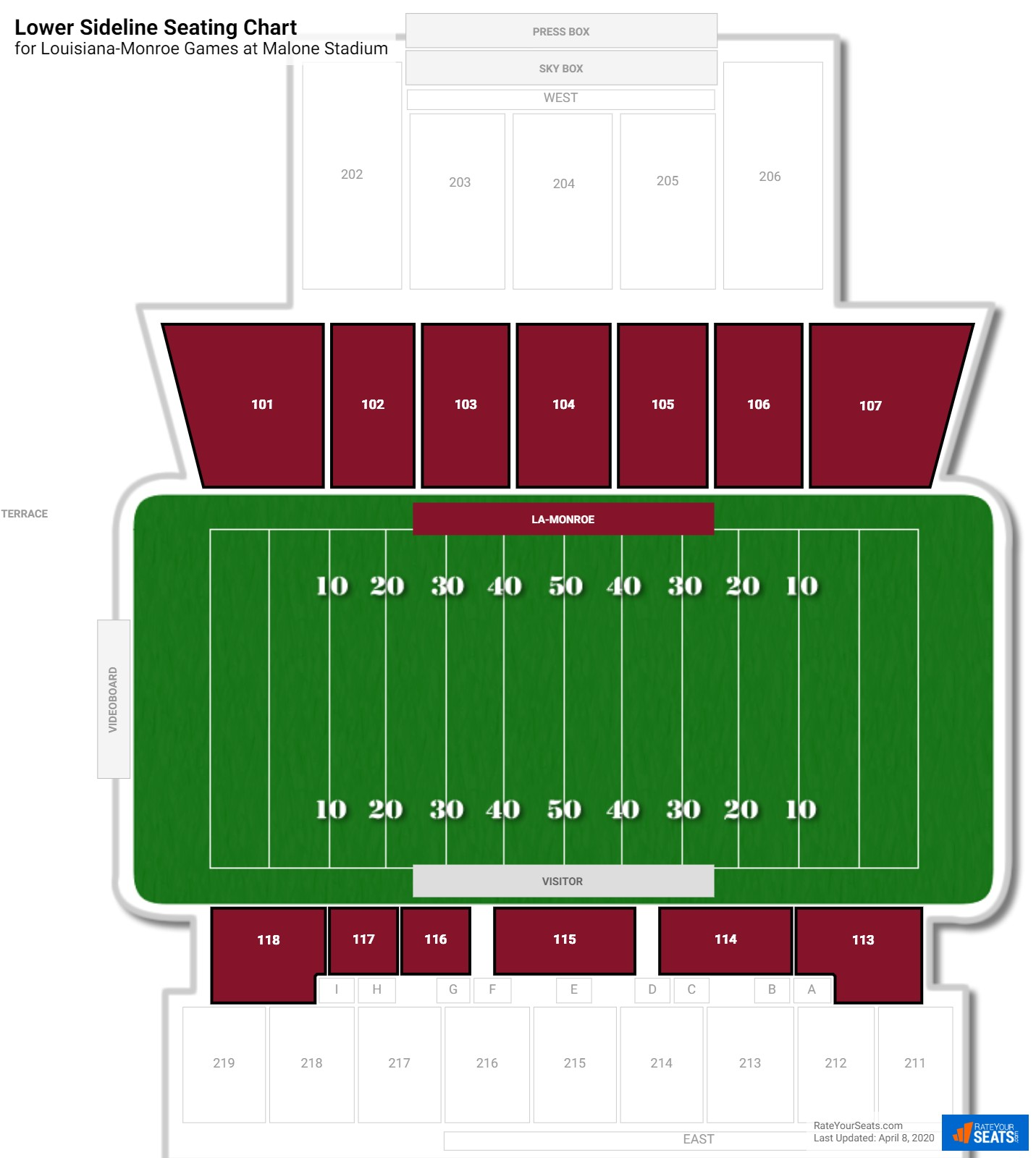 Malone Stadium Lower Sideline seating chart
