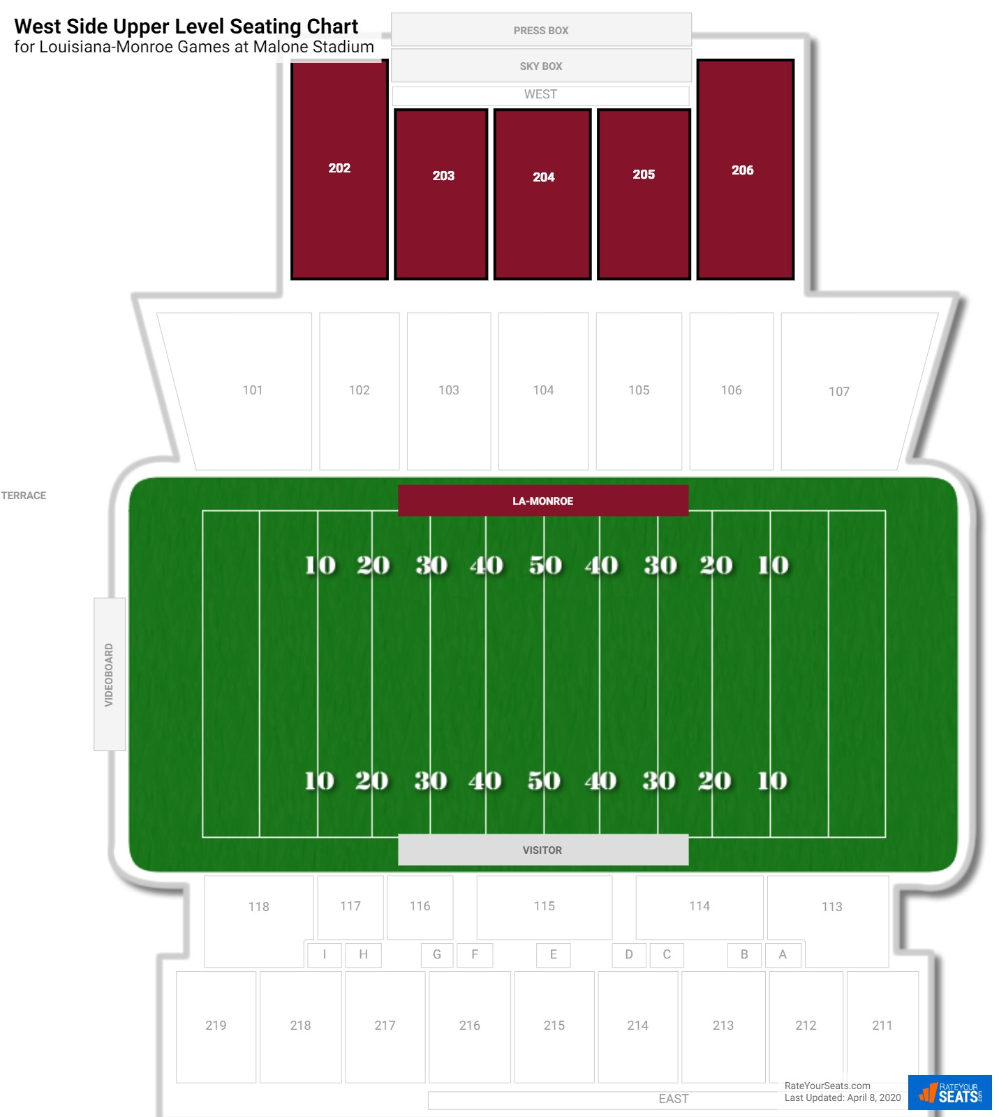 Malone Stadium West Side Upper Level seating chart