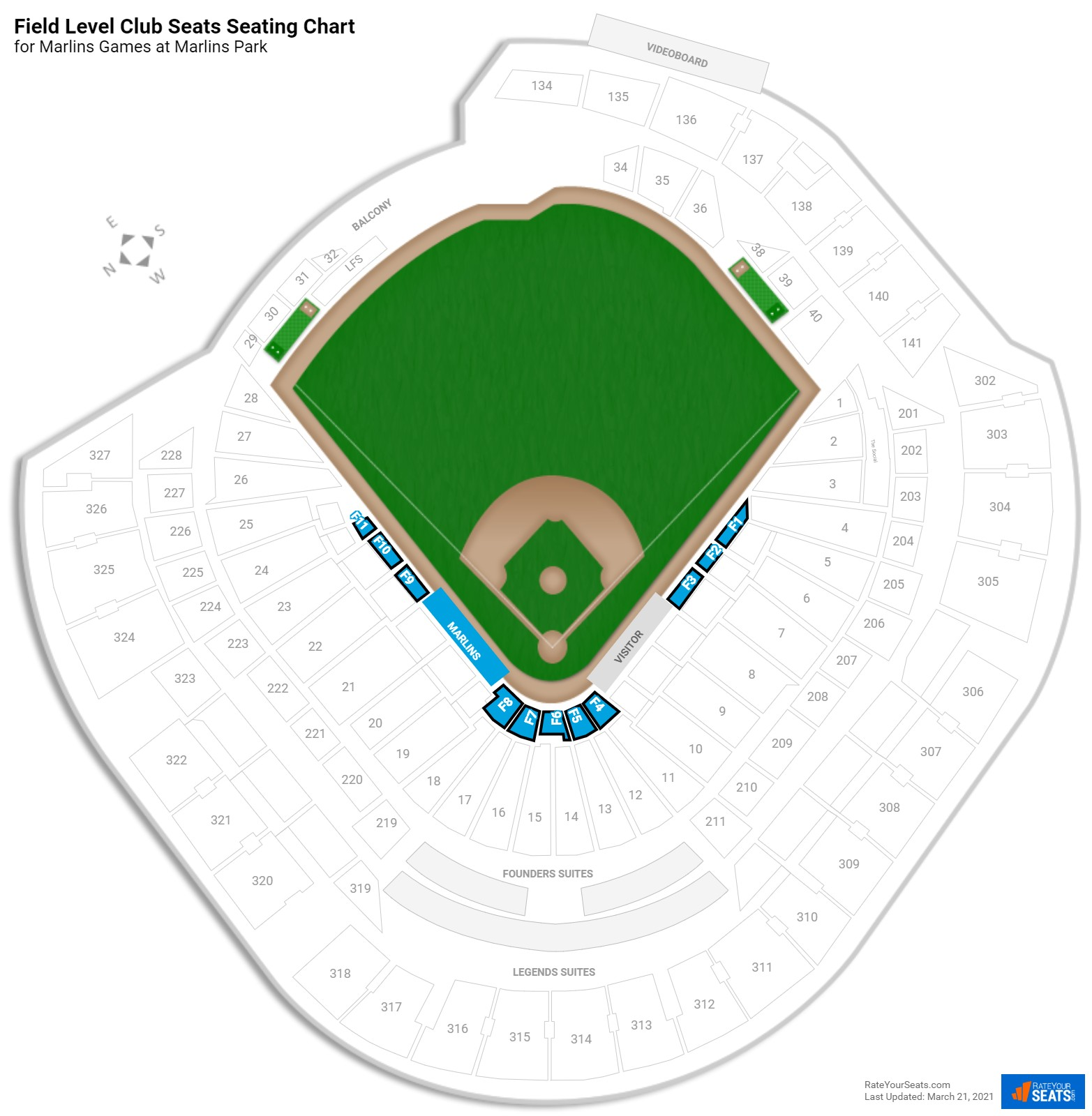 Marlins Park Field Level Infield seating chart