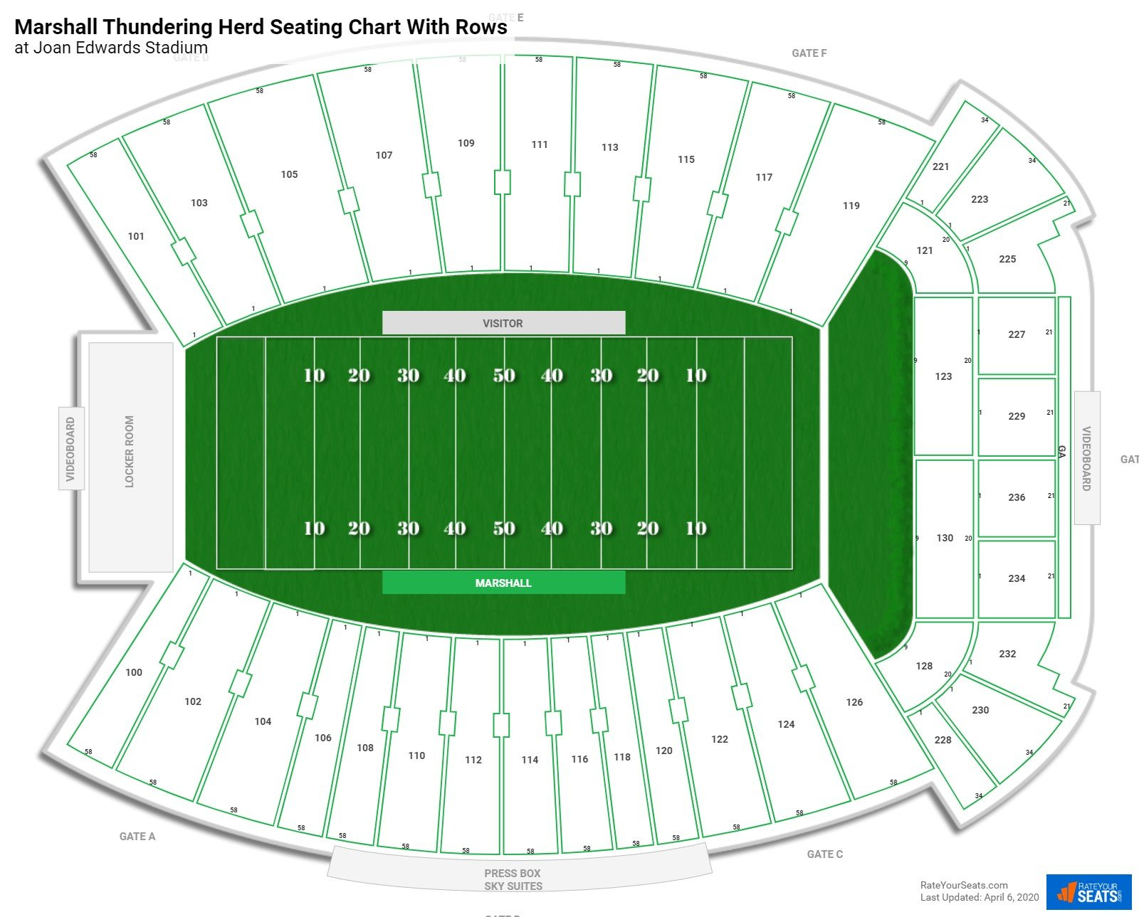 Joan Edwards Stadium seating chart with rows
