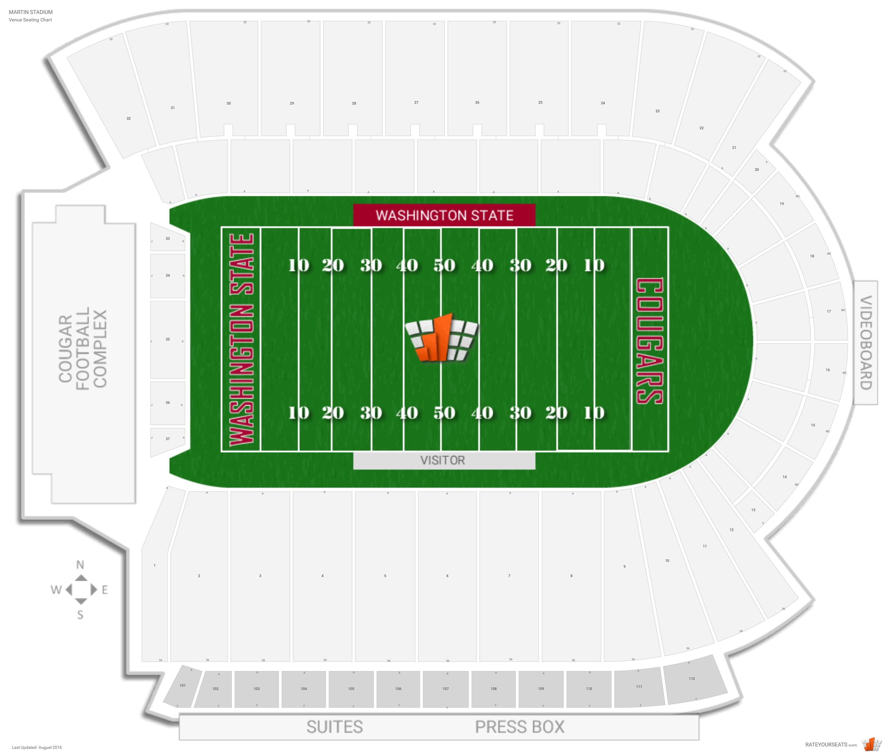 Martin Stadium Seating Chart with Row Numbers