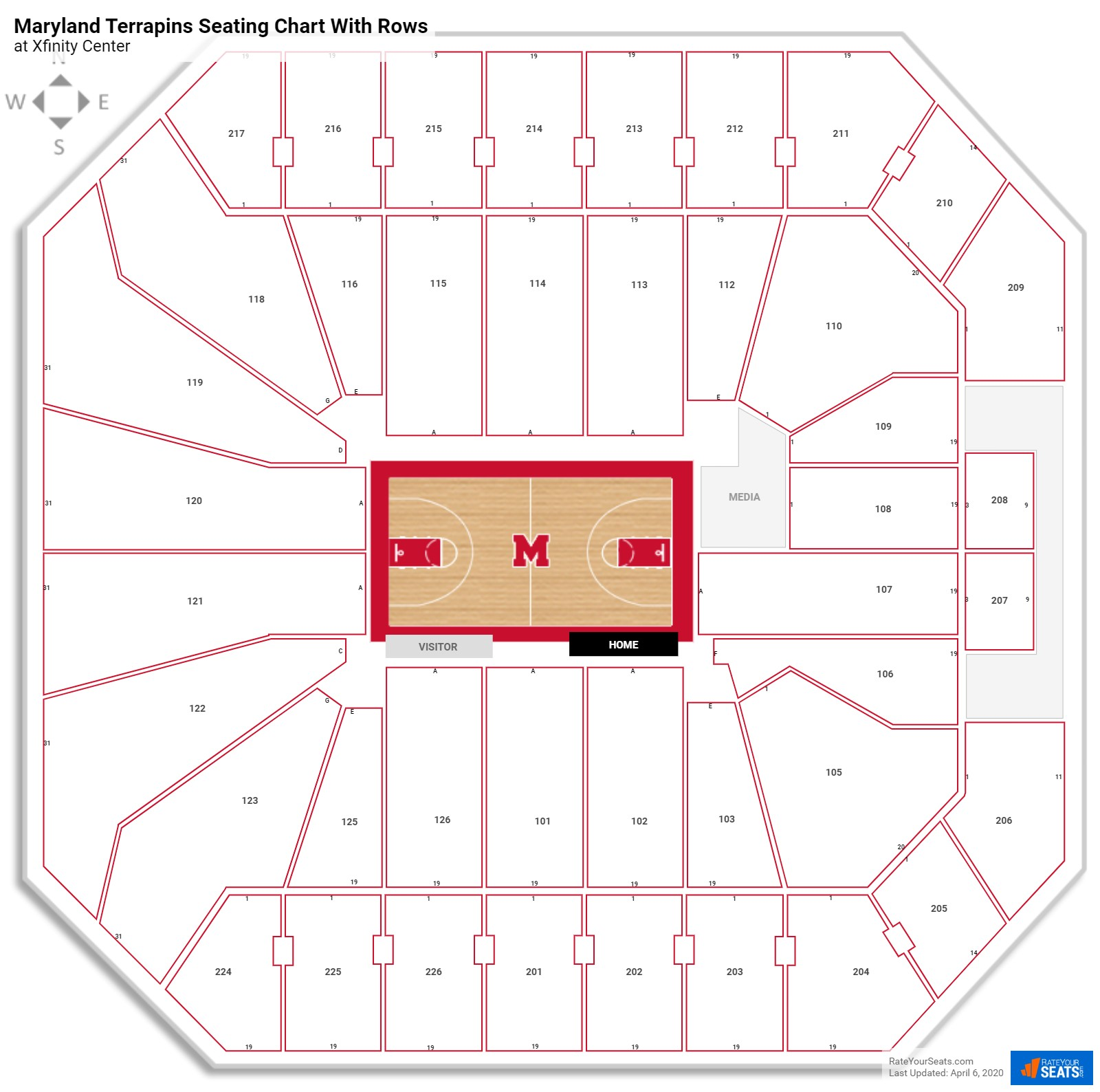 Xfinity Center seating chart with rows
