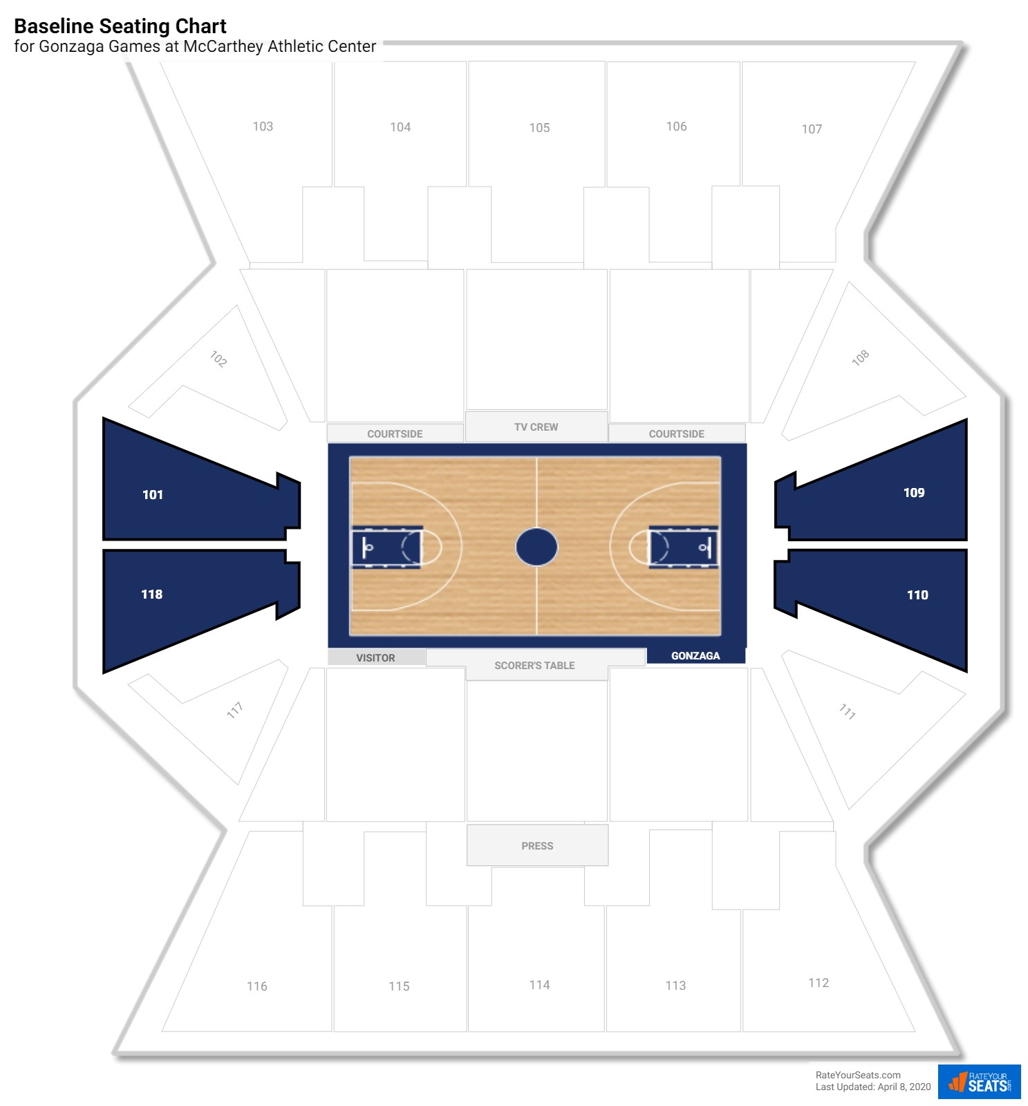 Mccarthey Athletic Center Gonzaga Seating Guide Rateyourseatscom