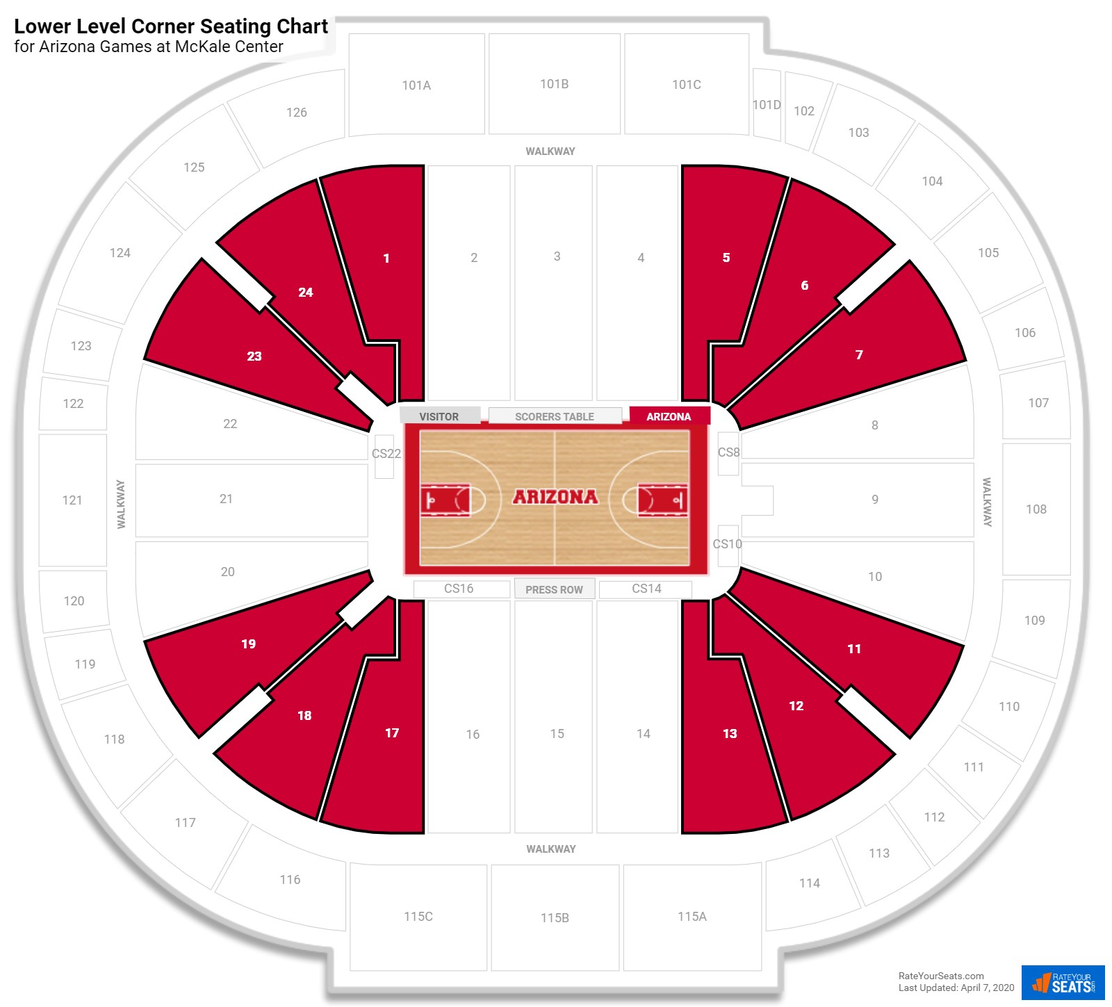 McKale Center Lower Level Corner seating chart
