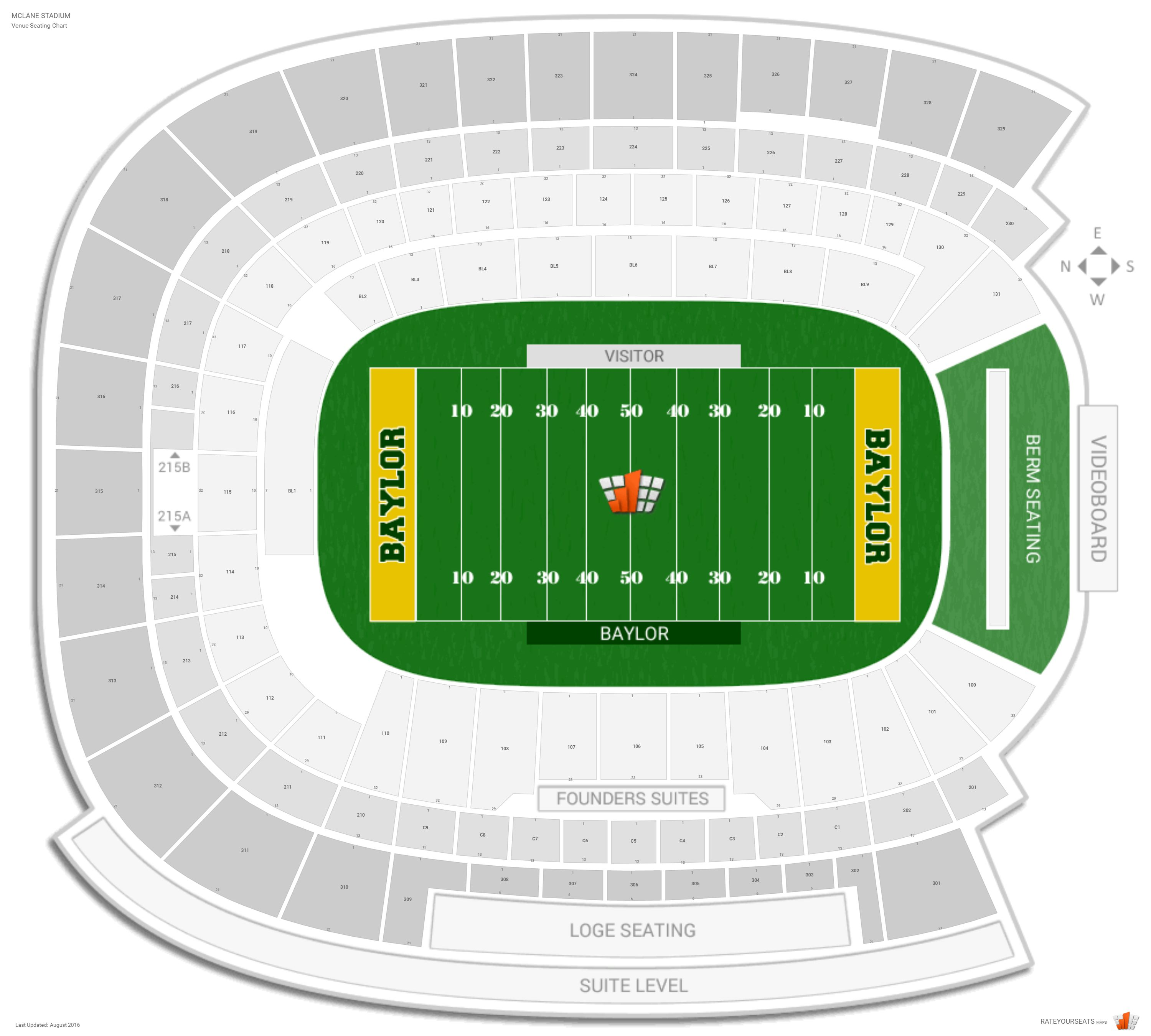 McLane Stadium Seating Chart with Row Numbers