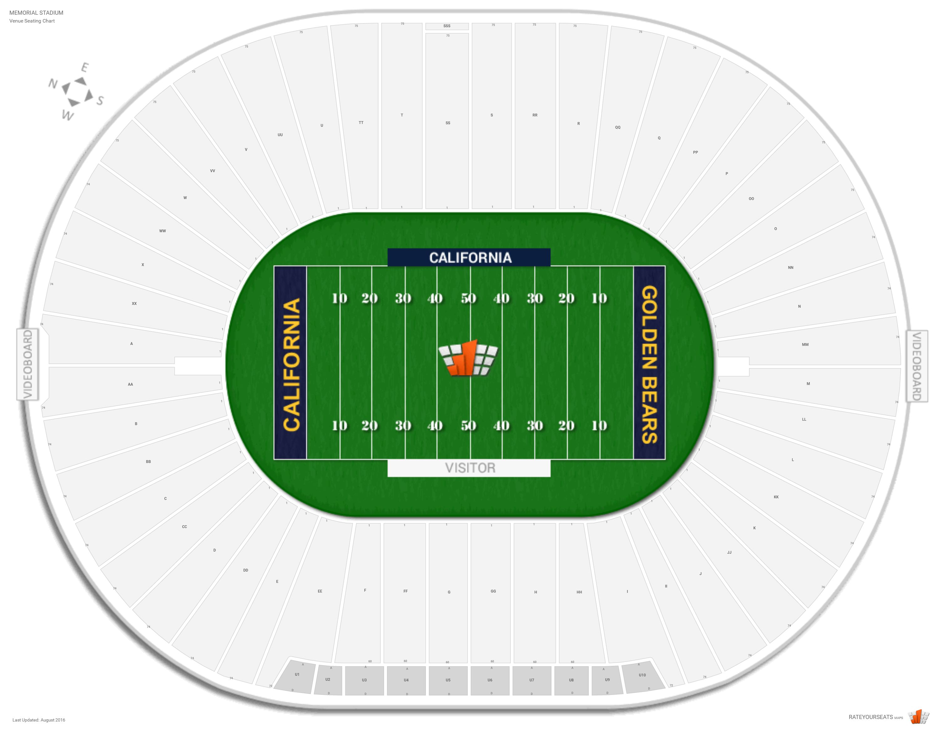 California Golden Bears Memorial Stadium Seating Chart Elcho Table