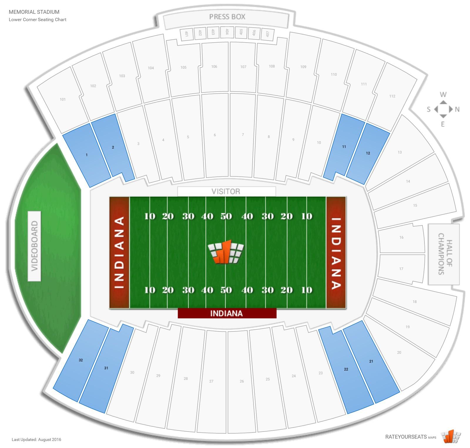 Lower Corner - Memorial Stadium Football Seating
