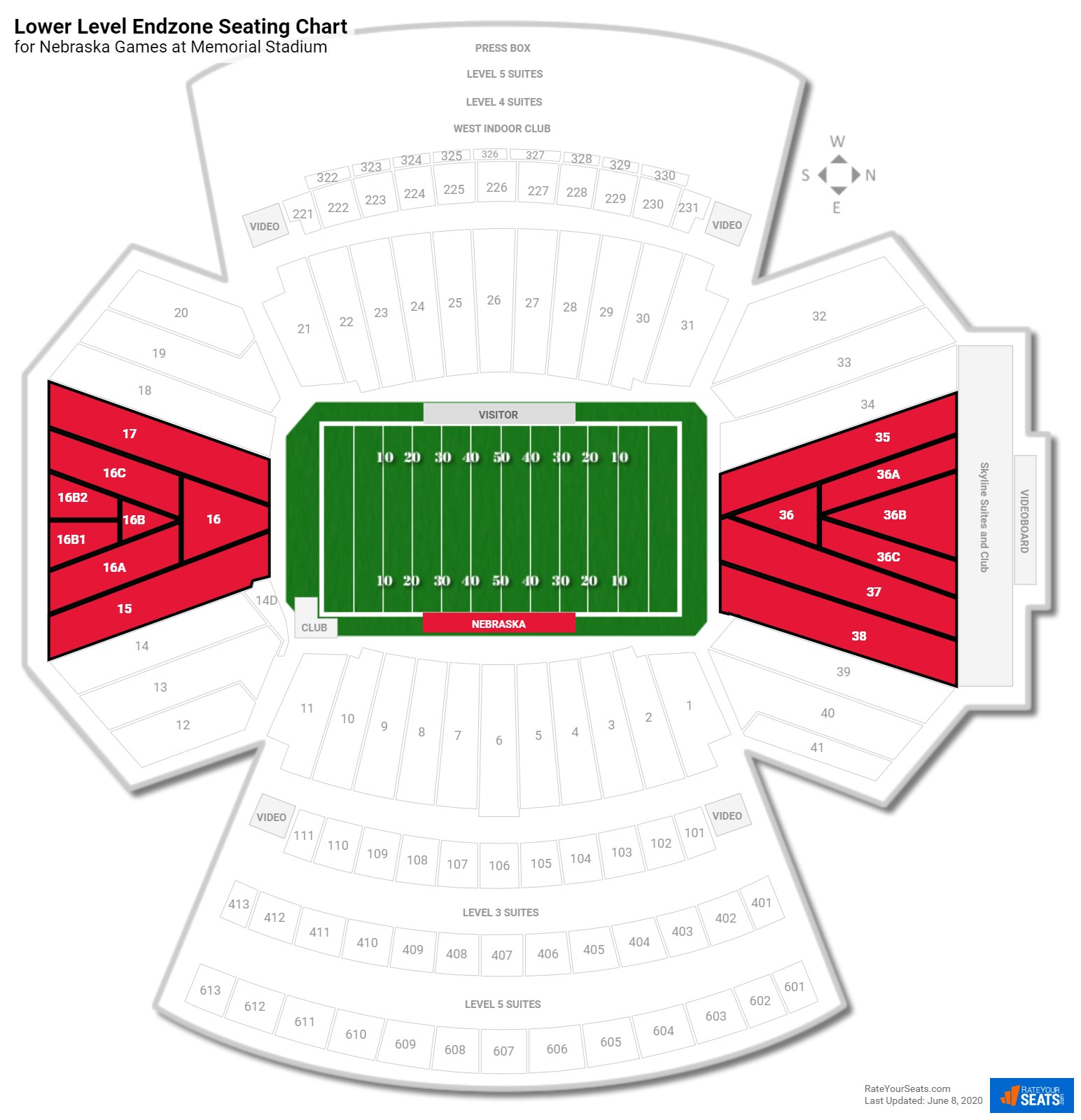 Memorial Stadium Lower Level Endzone seating chart