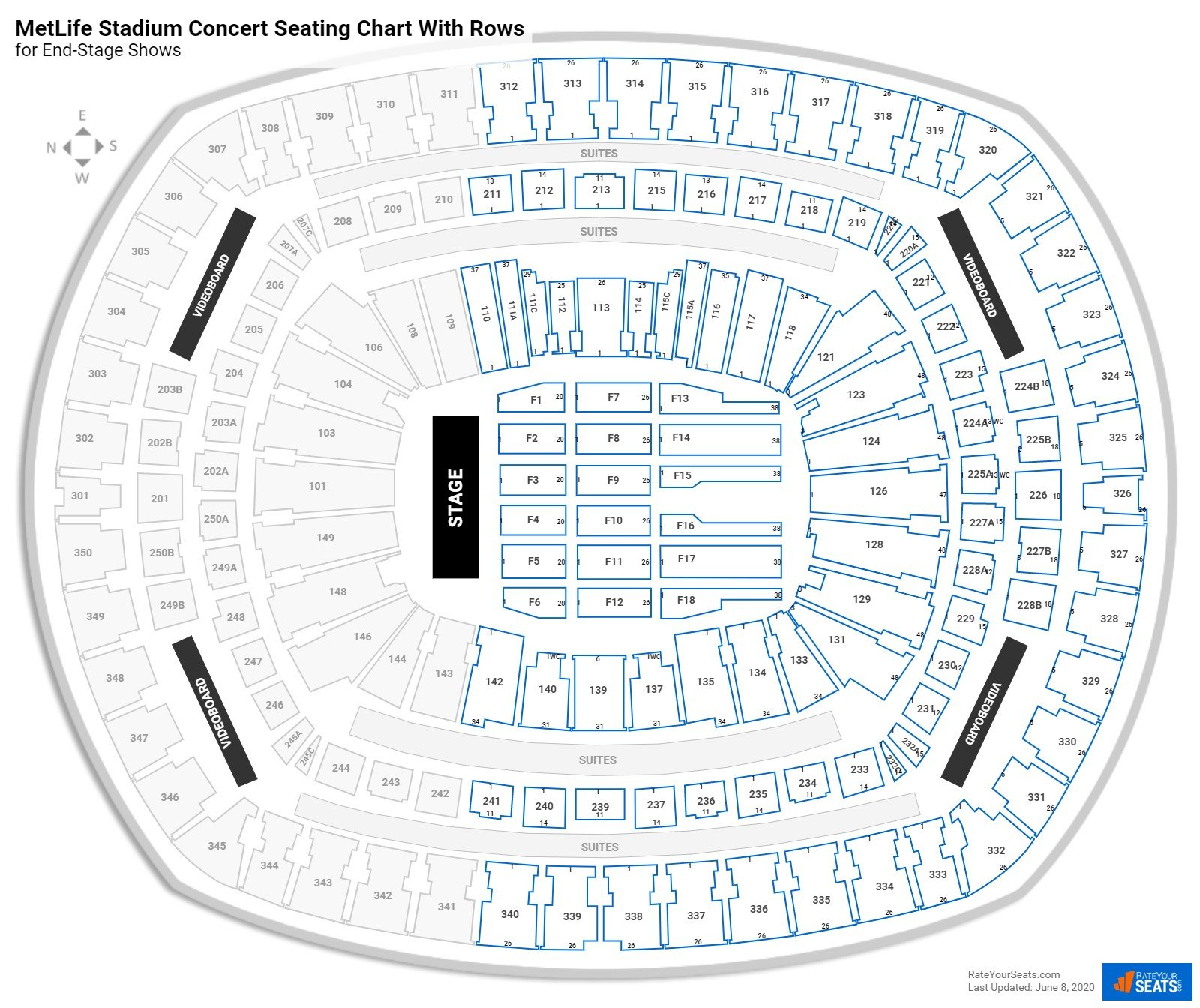 Metlife Stadium Seating Charts For Concerts Rateyourseats Com