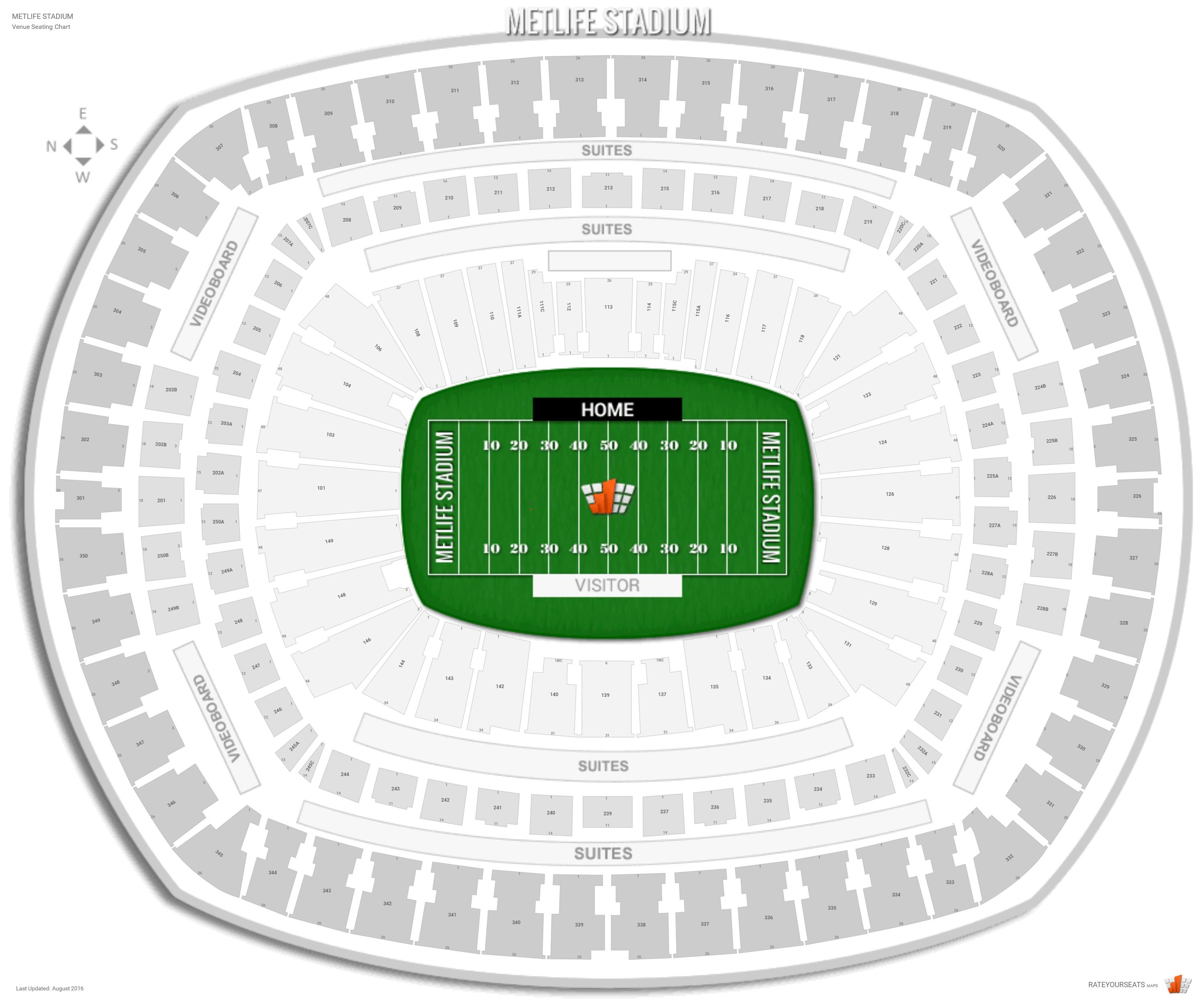 Metlife Stadium Seating Chart With Row Numbers