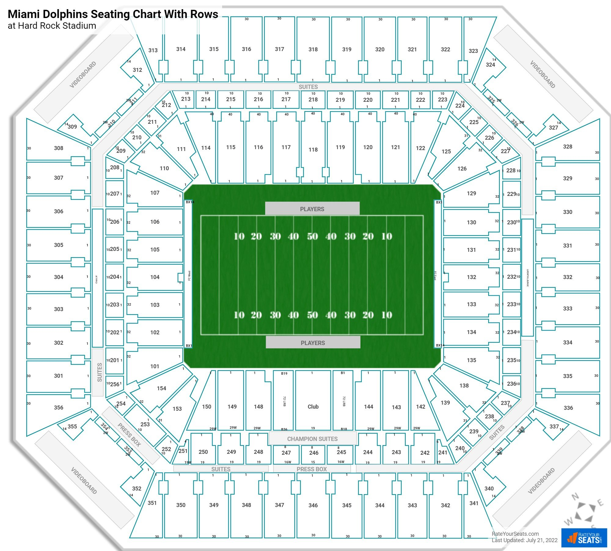 hard rock stadium seating for dolphins games and miami fl