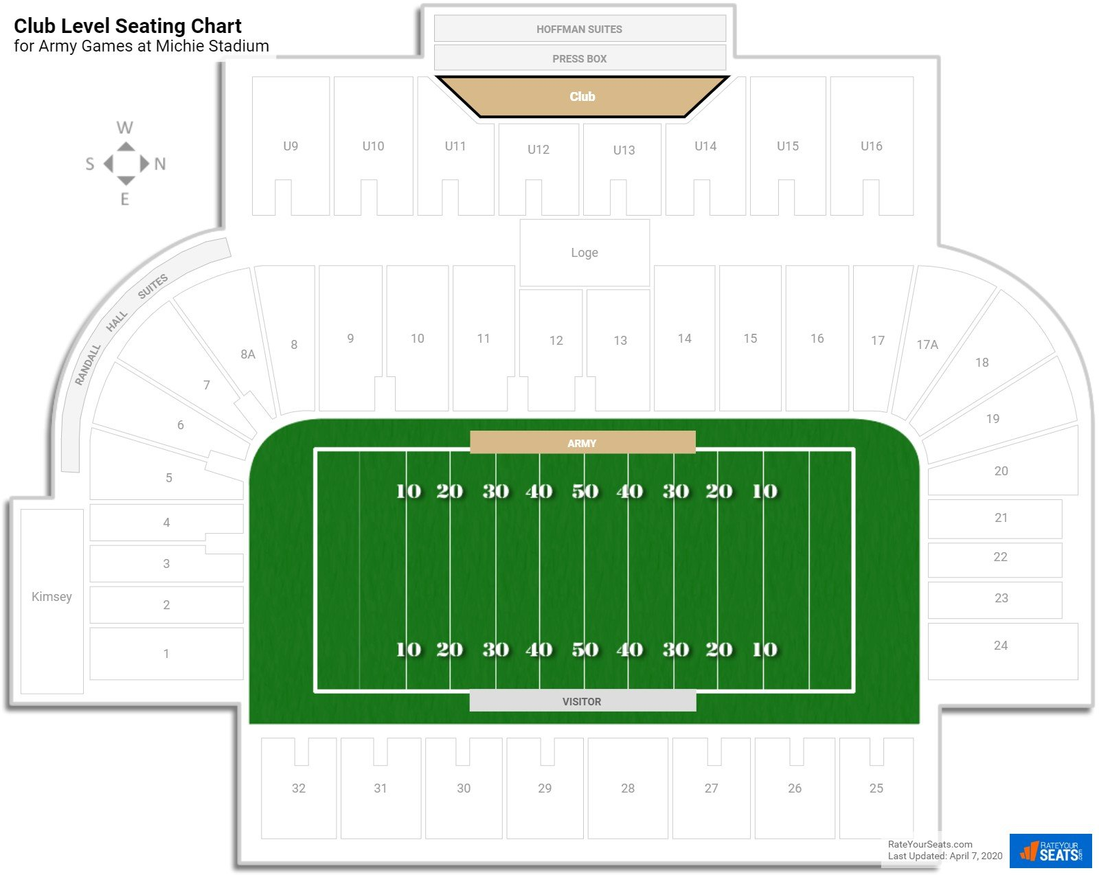 Michie Stadium Club Level seating chart