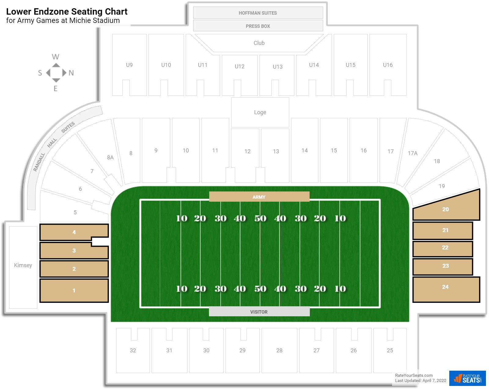 Michie Stadium Lower Endzone seating chart