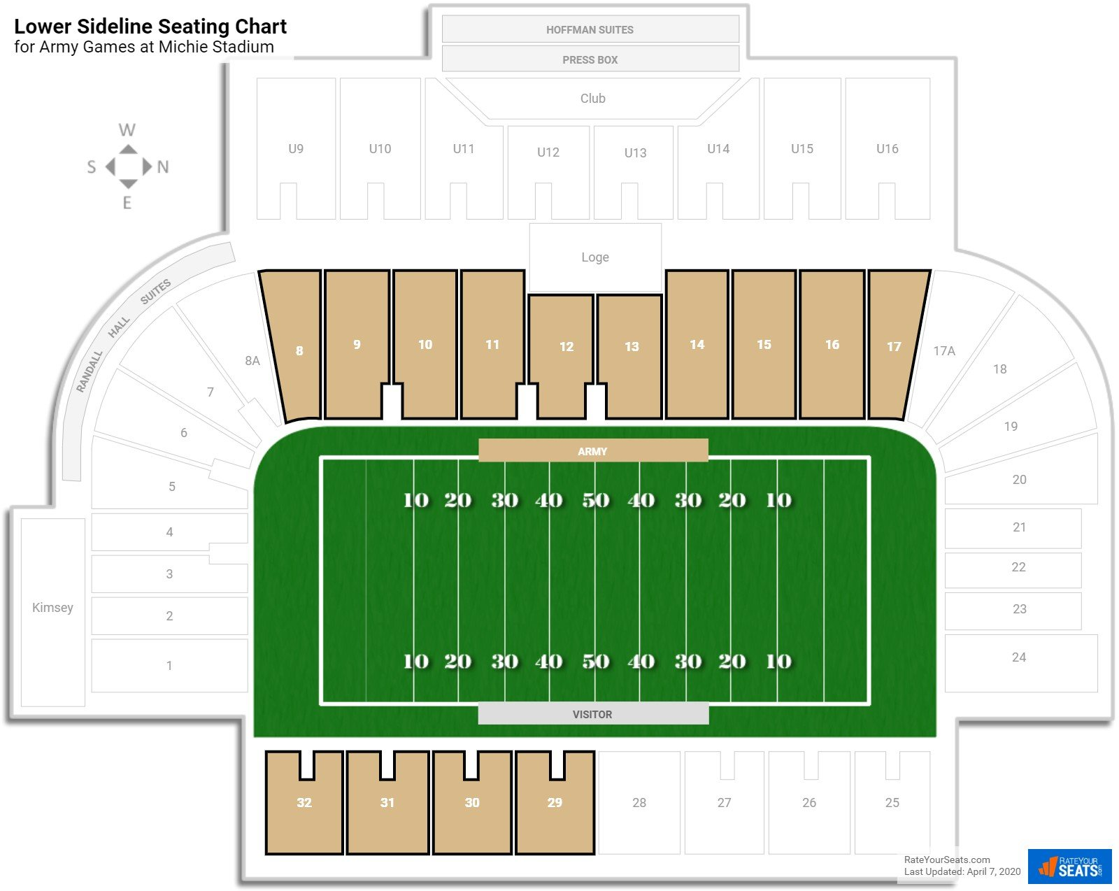 Michie Stadium Lower Sideline Seating Chart