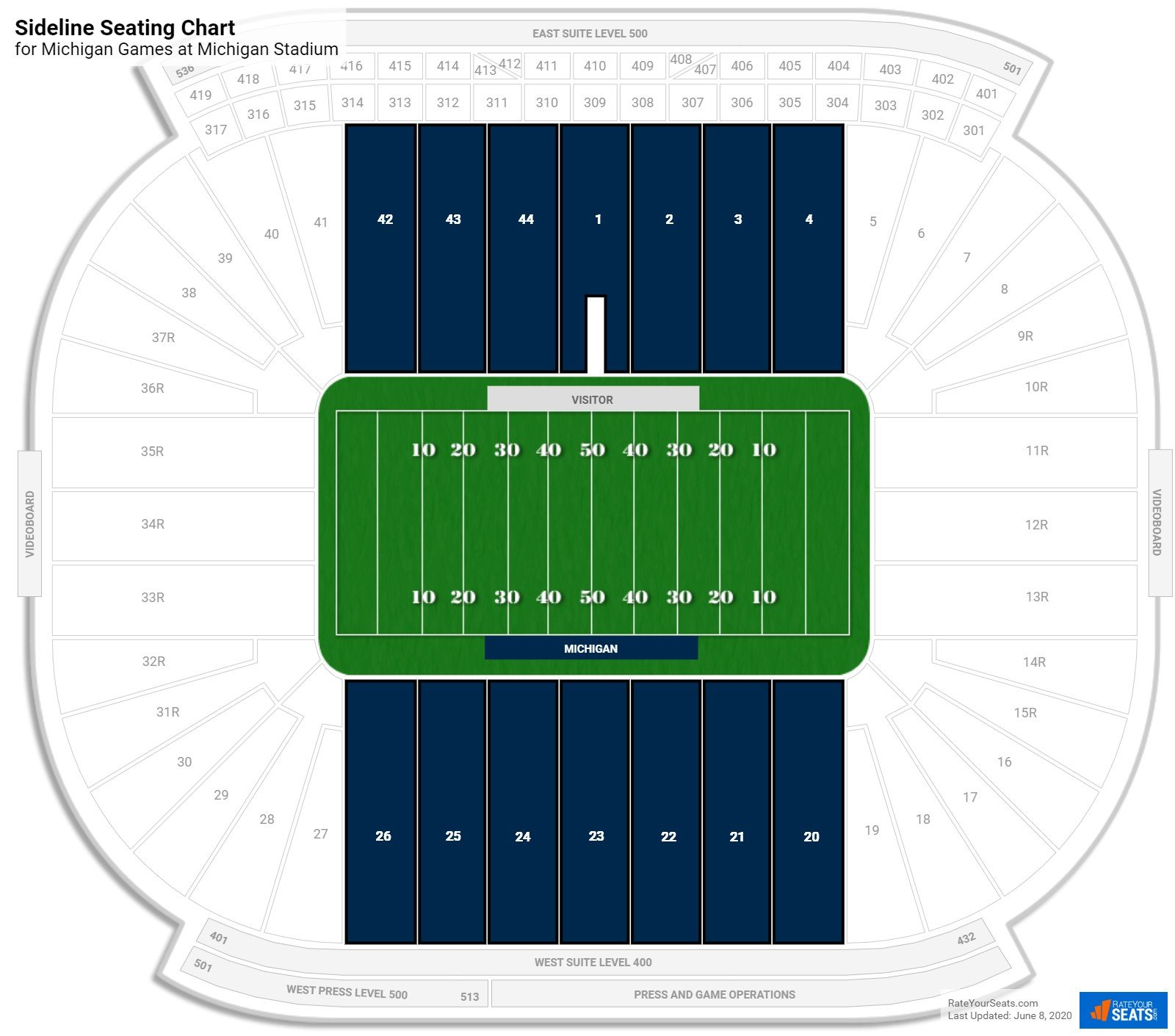 Michigan Stadium Sideline seating chart