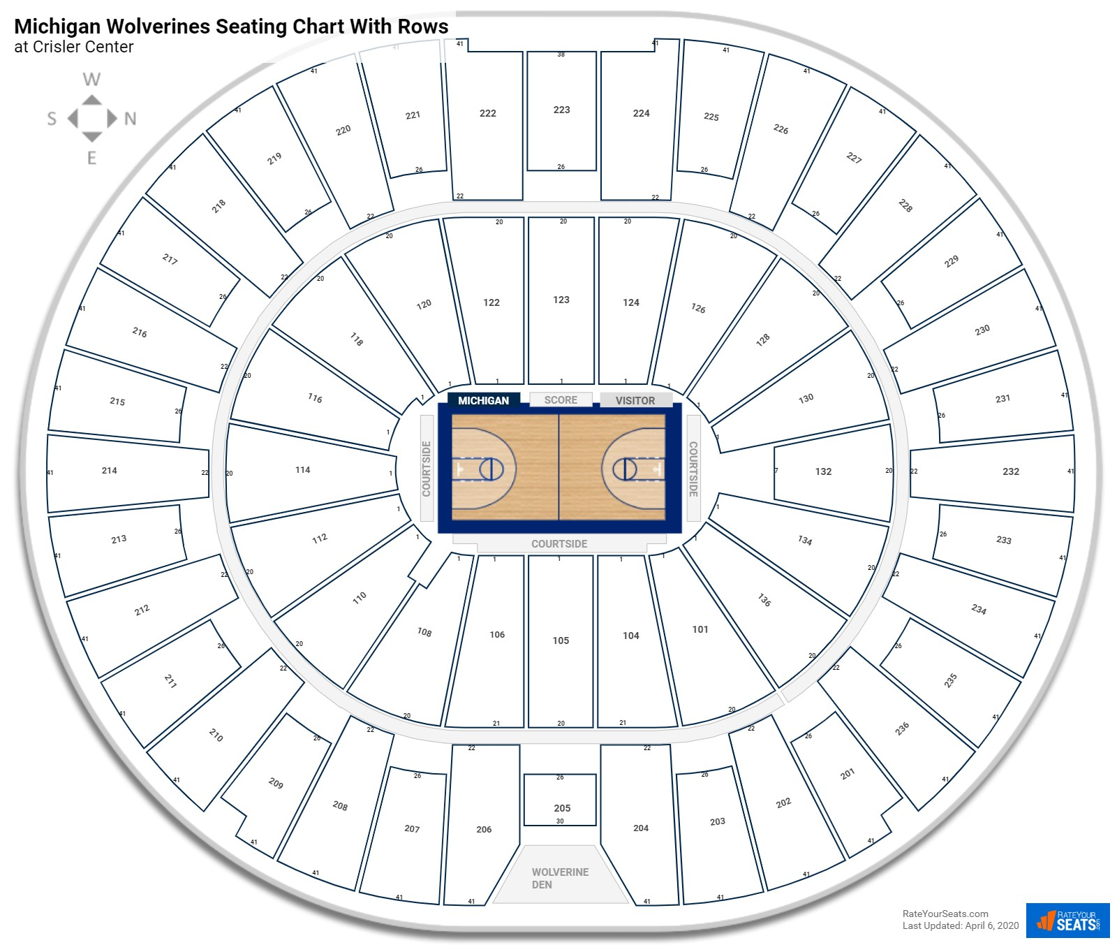 Crisler Center seating chart with rows