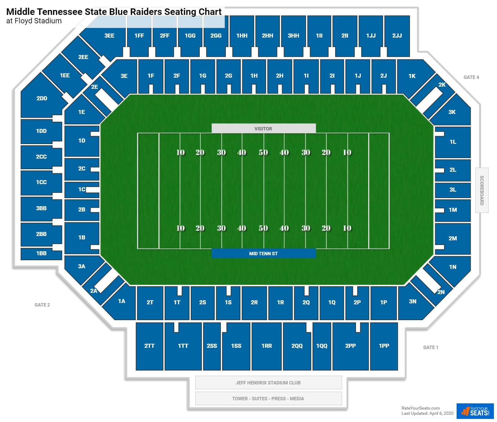 Middle Tennessee State Football Seating Chart