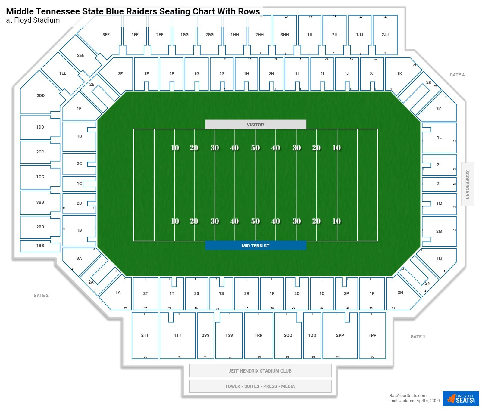Floyd Stadium seating chart with rows