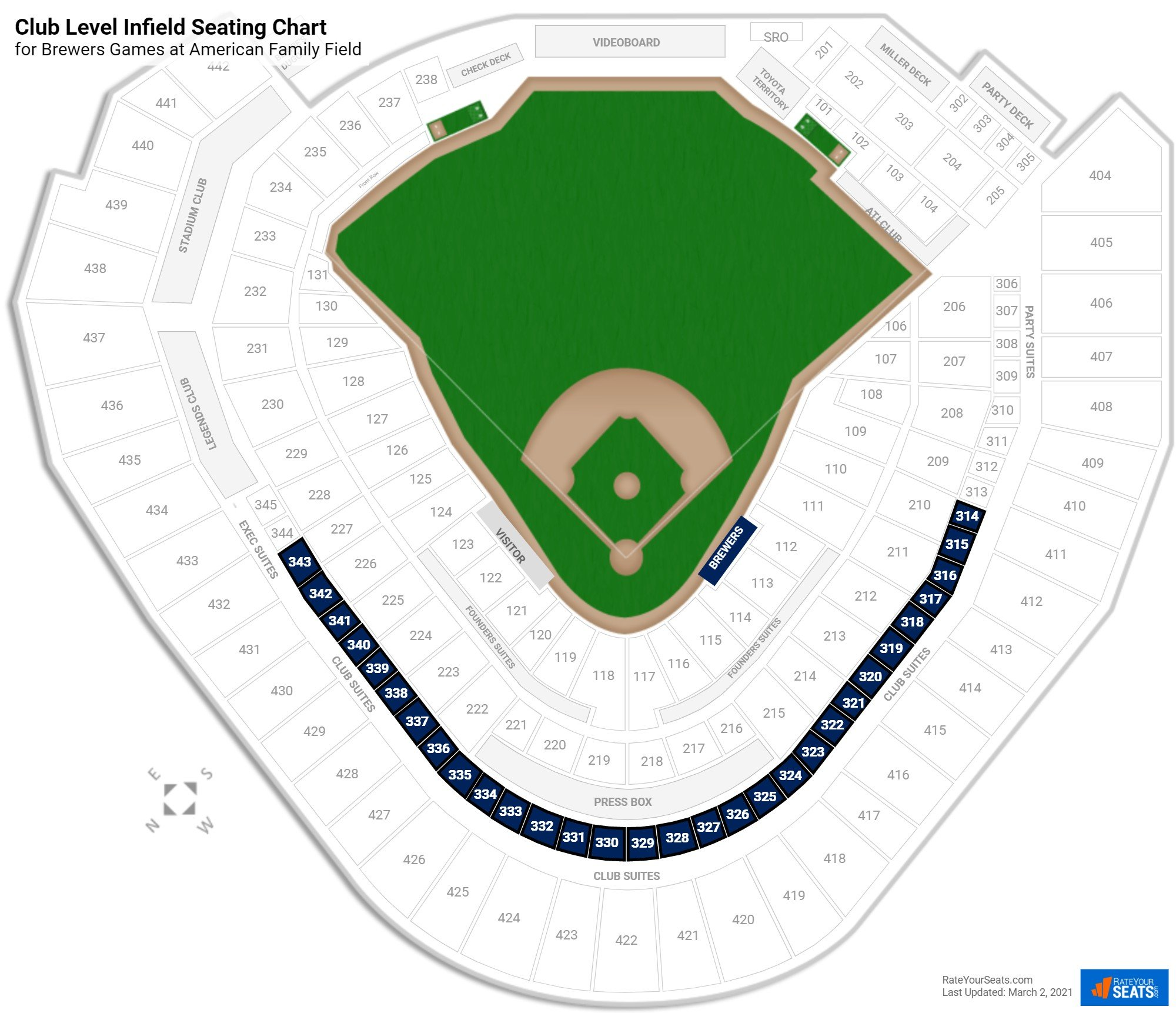 Miller Park Club Level Infield seating chart