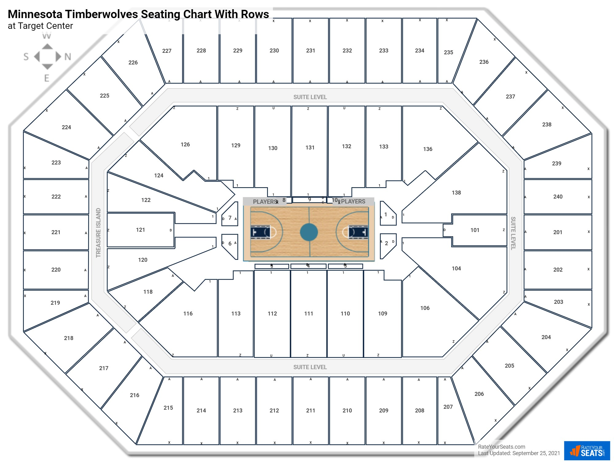 Target Center seating chart with rows basketball