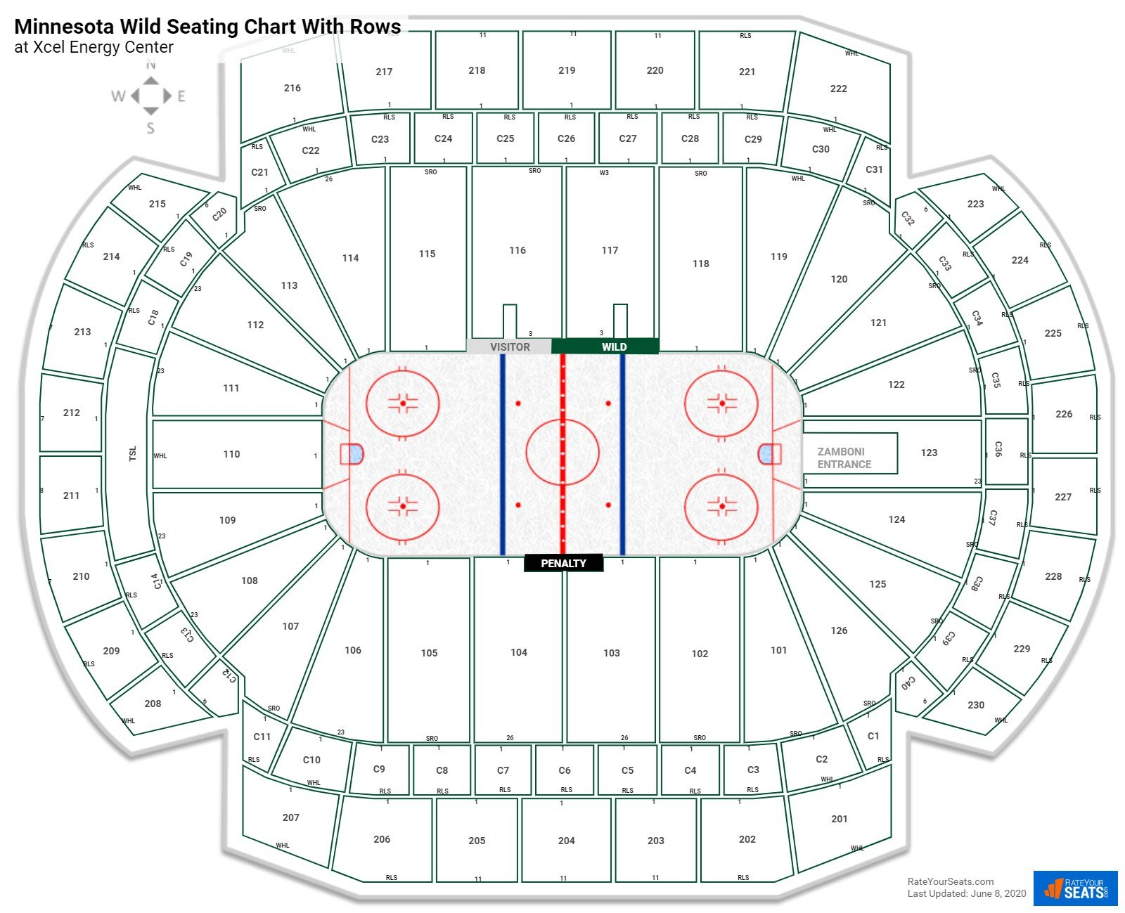 Xcel Energy Center seating chart with rows hockey